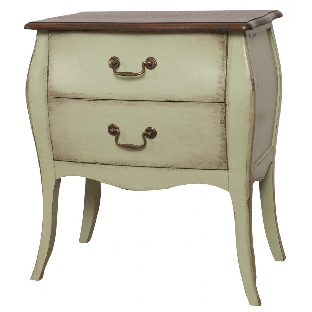 Cabinet din lemn de plop, furnir si MDF, cu 2 sertare Mellow Low Olive / Brown, l62xA38xH72 cm imagine