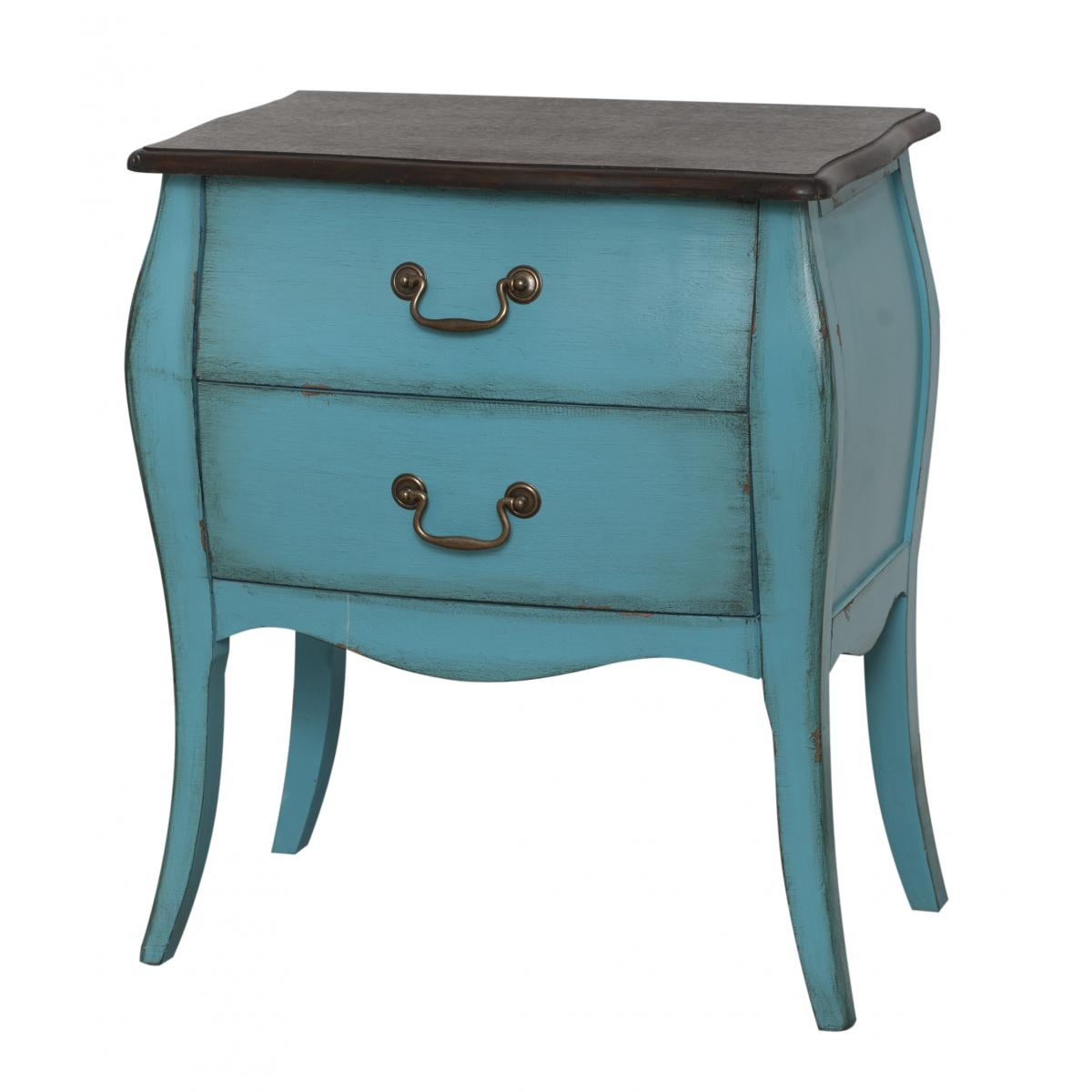 Cabinet din lemn de plop furni si MDF cu 2 sertare Mellow Low Turquoise / Brown l62xA38xH72 cm