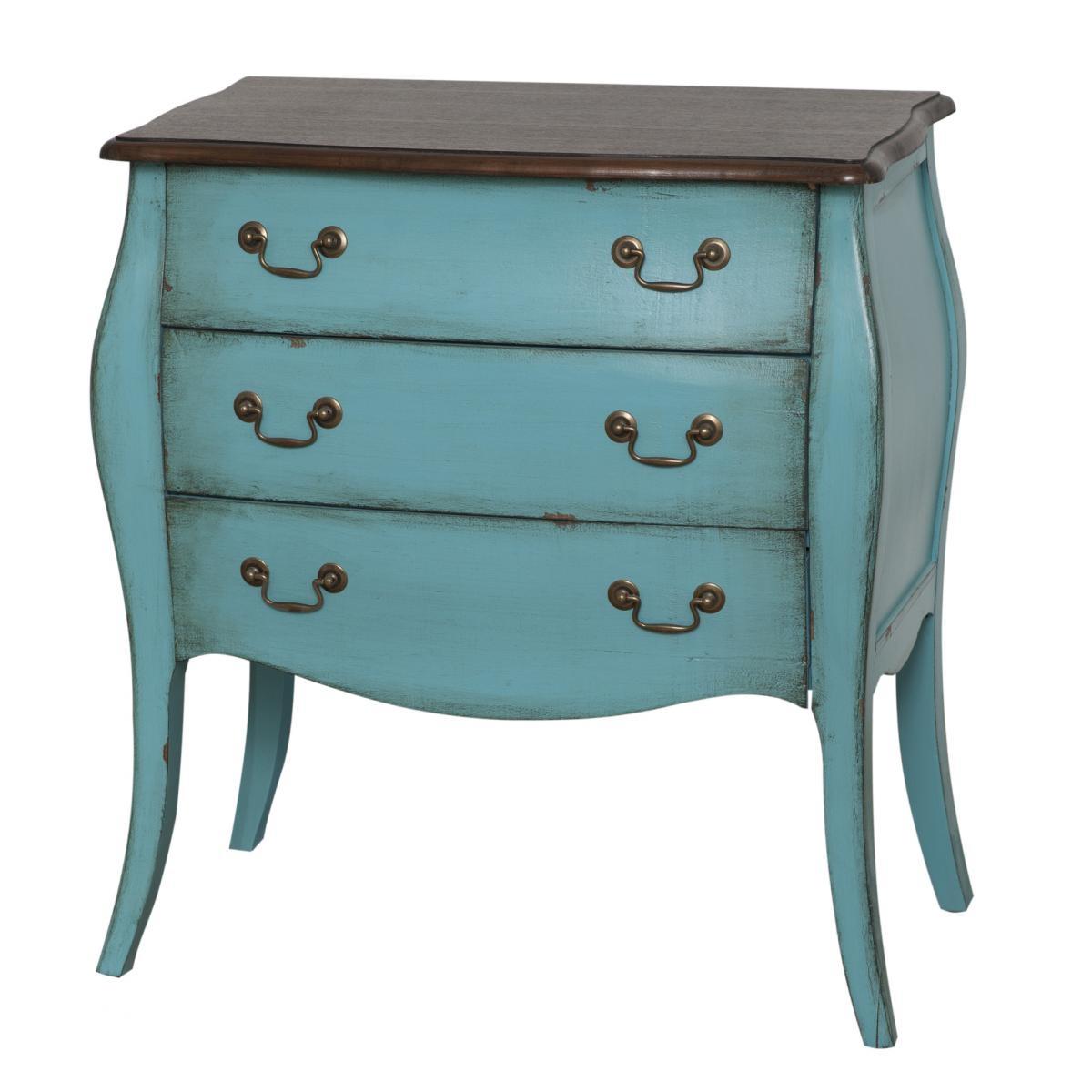 Cabinet din lemn de plop, furnir si MDF, cu 3 sertare Mellow Medium Turquoise / Brown, l69xA39xH77 cm