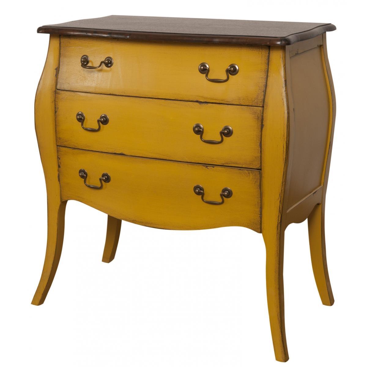 Cabinet din lemn de plop, furnir si MDF, cu 3 sertare Mellow Medium Yellow / Brown, l69xA39xH77 cm imagine