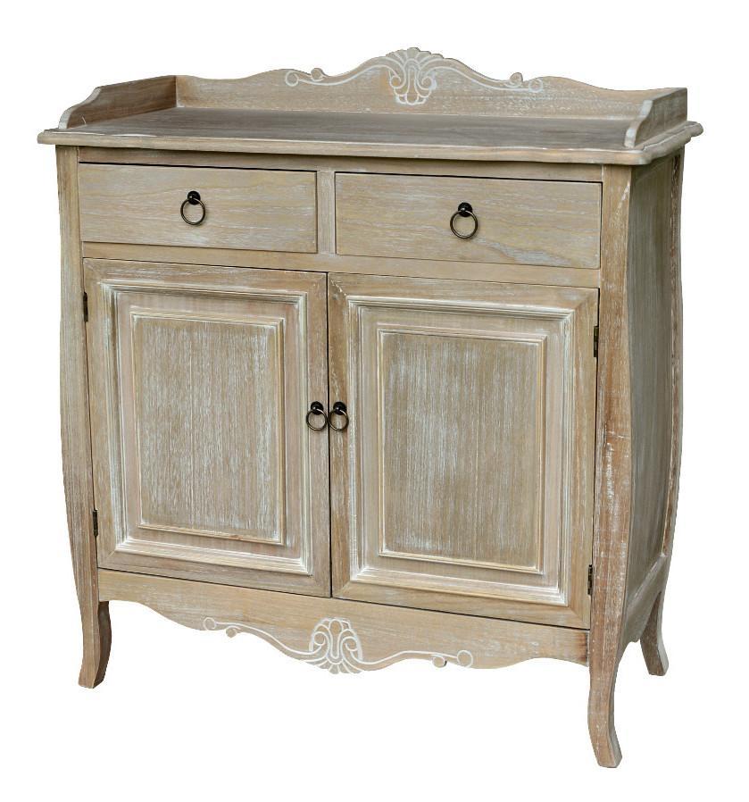 Cabinet din lemn de plop furnir si MDF cu 2 sertare si 2 usi Merano ME037B Light Brown l88xA40xH95 cm