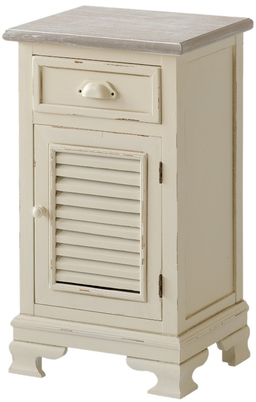 Cabinet din lemn de plop si MDF, cu 1 sertar si 1 usa Pesaro PE011 Cream / Light Brown, l40xA31xH70 cm