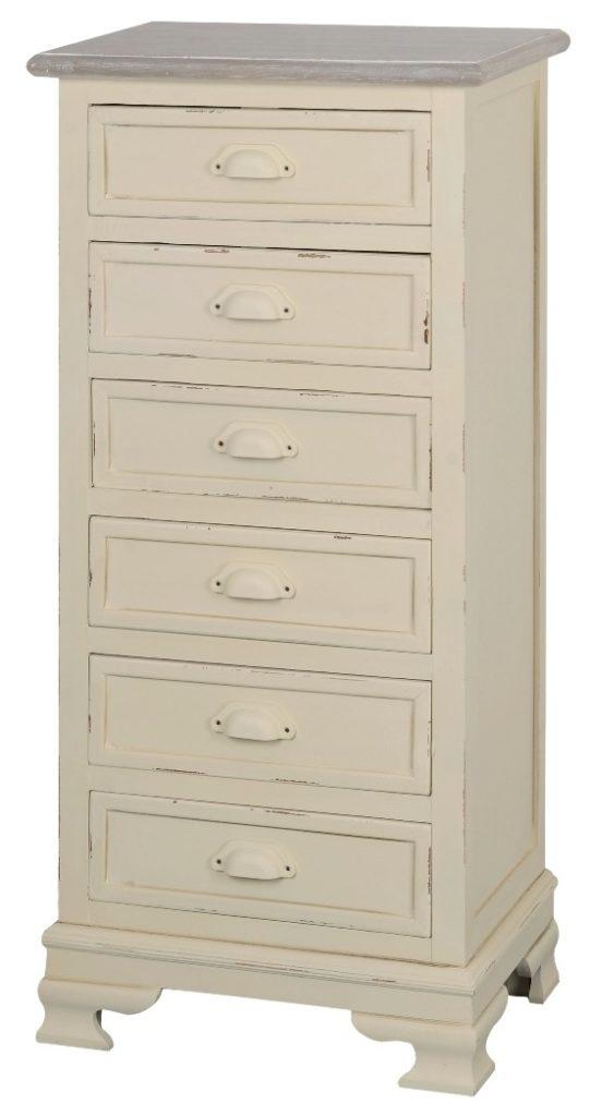 Cabinet din lemn de plop si MDF, cu 6 sertare Pesaro PE015 Cream / Light Brown, l47xA34xH100 cm imagine