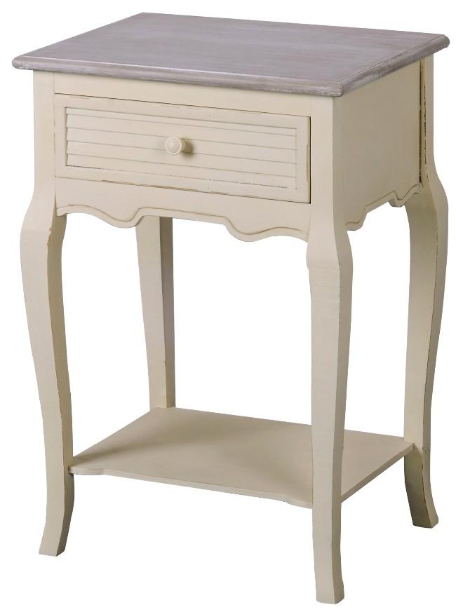 Cabinet din lemn de plop si MDF, cu 1 sertar Pesaro PE019 Cream / Light Brown, l47xA35xH70 cm imagine