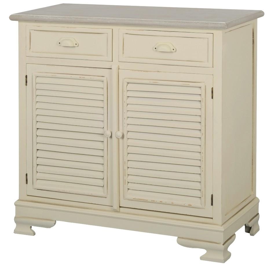 Cabinet din lemn de plop si MDF, cu 2 sertare Pesaro PE01D Cream / Light Brown, l90xA40xH88 cm