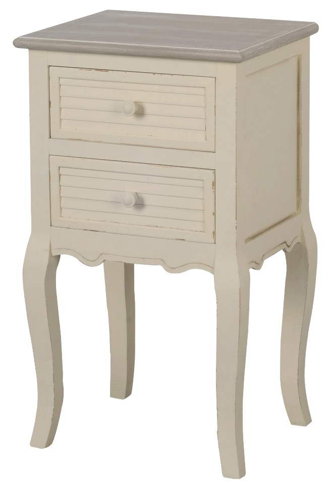 Cabinet din lemn de plop si MDF, cu 2 sertare Pesaro PE021 Cream / Light Brown, l39xA31xH67 cm imagine