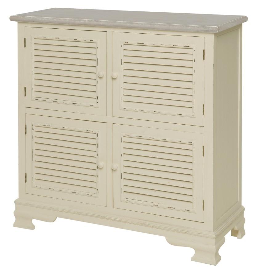 Cabinet din lemn de plop si MDF, cu 4 usi Pesaro PE024 Cream / Light Brown, l90xA38xH90 cm imagine