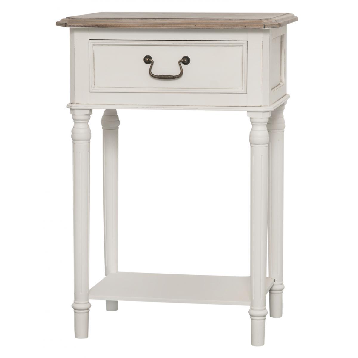 Cabinet din lemn de plop si MDF cu 1 sertar Ravenna RA019 White / Brown l47xA35xH69 cm