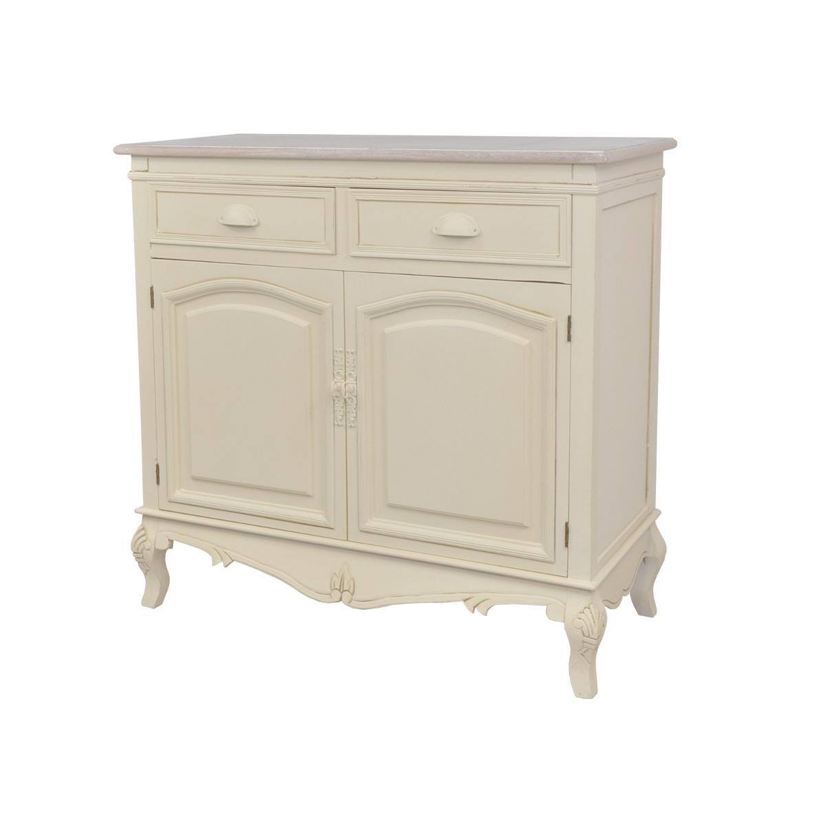 Cabinet din lemn de plop si MDF, cu 2 sertare si 2 usi Rimini RI01D Cream / Light Brown , l90xA39xH85 cm imagine
