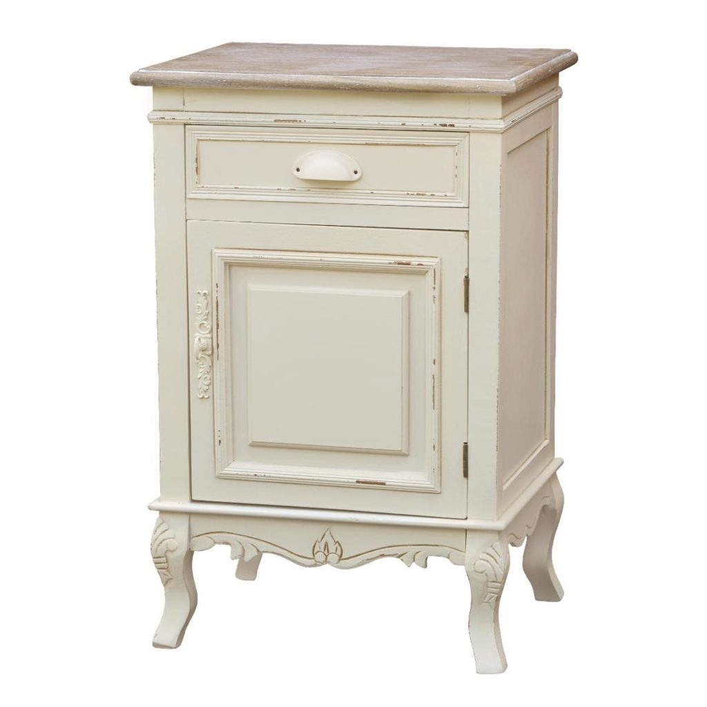 Cabinet din lemn de plop si MDF, cu 1 sertar si 1 usa Rimini RI113 Cream / Light Brown, l45xA35xH69 cm imagine