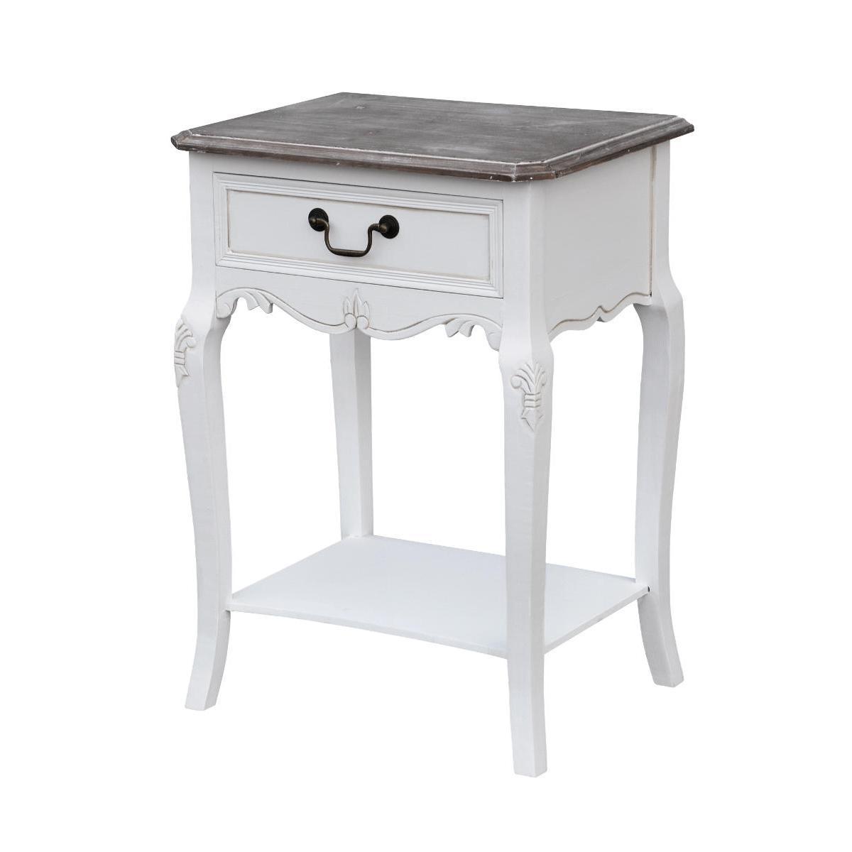 Cabinet din lemn de plop si MDF, cu 1 sertar Rimini White RI019W White / Brown, l47xA36xH70 cm