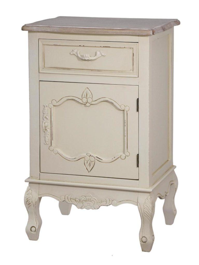 Cabinet din lemn de plop si MDF, cu 1 sertar si 1 usa Savona SAV011 Cream / Light Brown, l45xA35xH70 cm imagine
