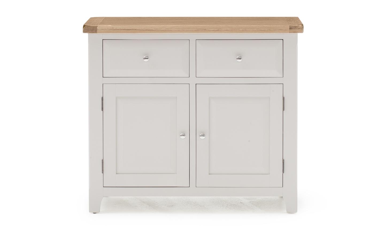 Cabinet din lemn de salcam si stejar cu 2 sertare si 2 usi Clemence Grey / Oak l105xA45xH90 cm