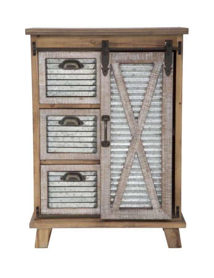 Cabinet din lemn si metal cu 3 sertare si 1 usa culisanta Old West Natural  l60xA385xH845 cm