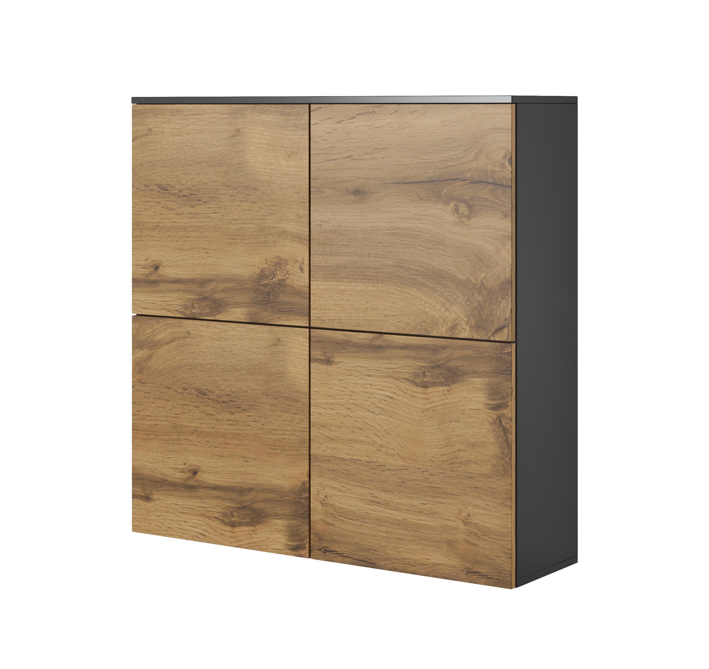 Cabinet suspendat din pal si MDF, cu 4 usi Livo KM-100 Wotan Oak / Anthracite, l100xA29xH100 cm