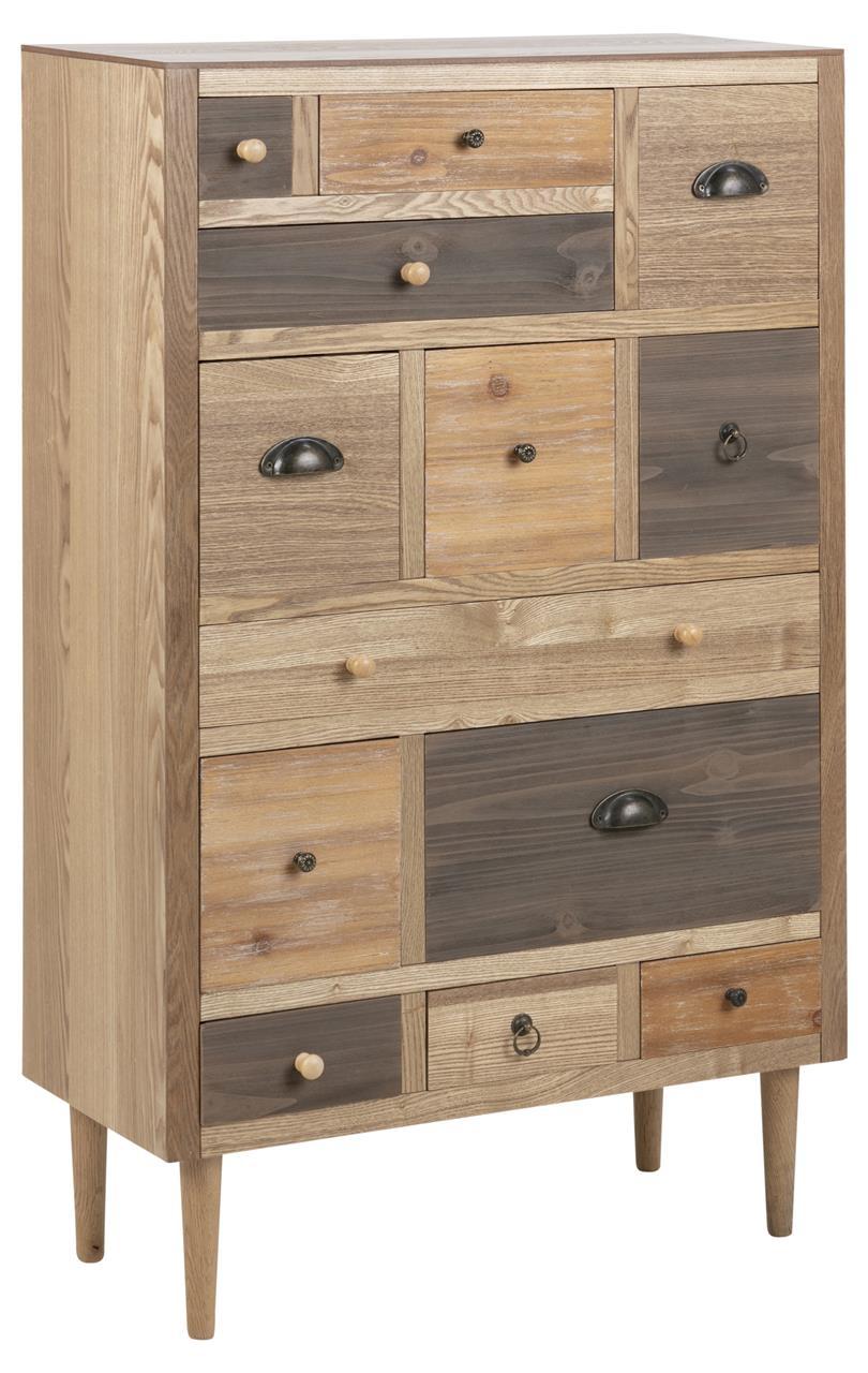Cabinet din MDF si furnir, cu 13 sertare Thais Natural, l70xA30xH114 cm poza