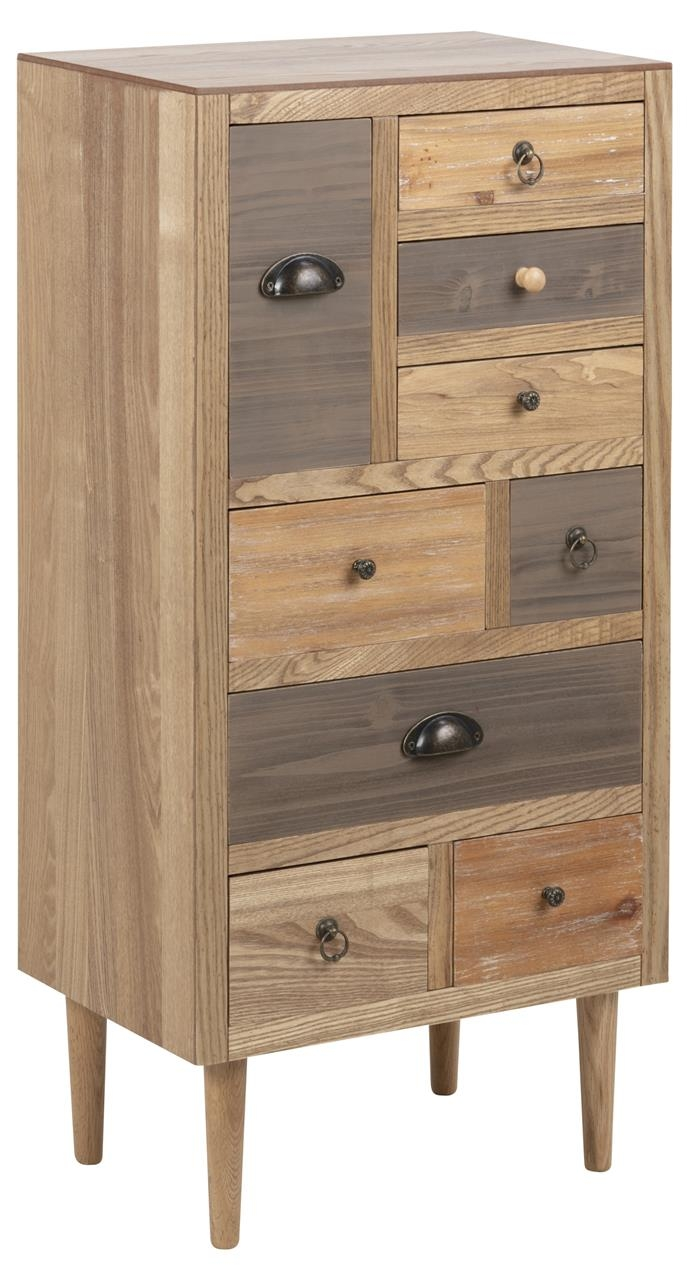 Cabinet din MDF si furnir, cu 9 sertare Thais Natural, l48xA32xH98 cm