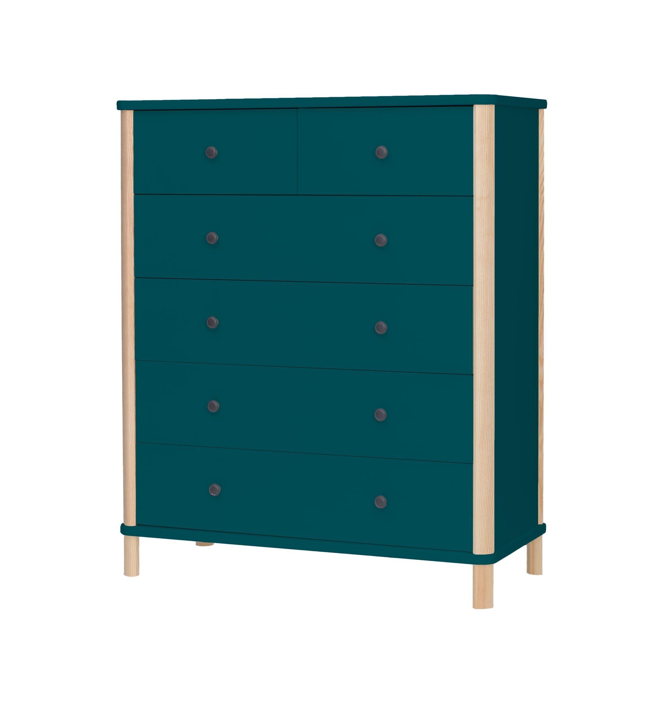 Cabinet din MDF si lemn de frasin cu 6 sertare Ashme Big Boy Petrol Blue l95xA45xH114 cm