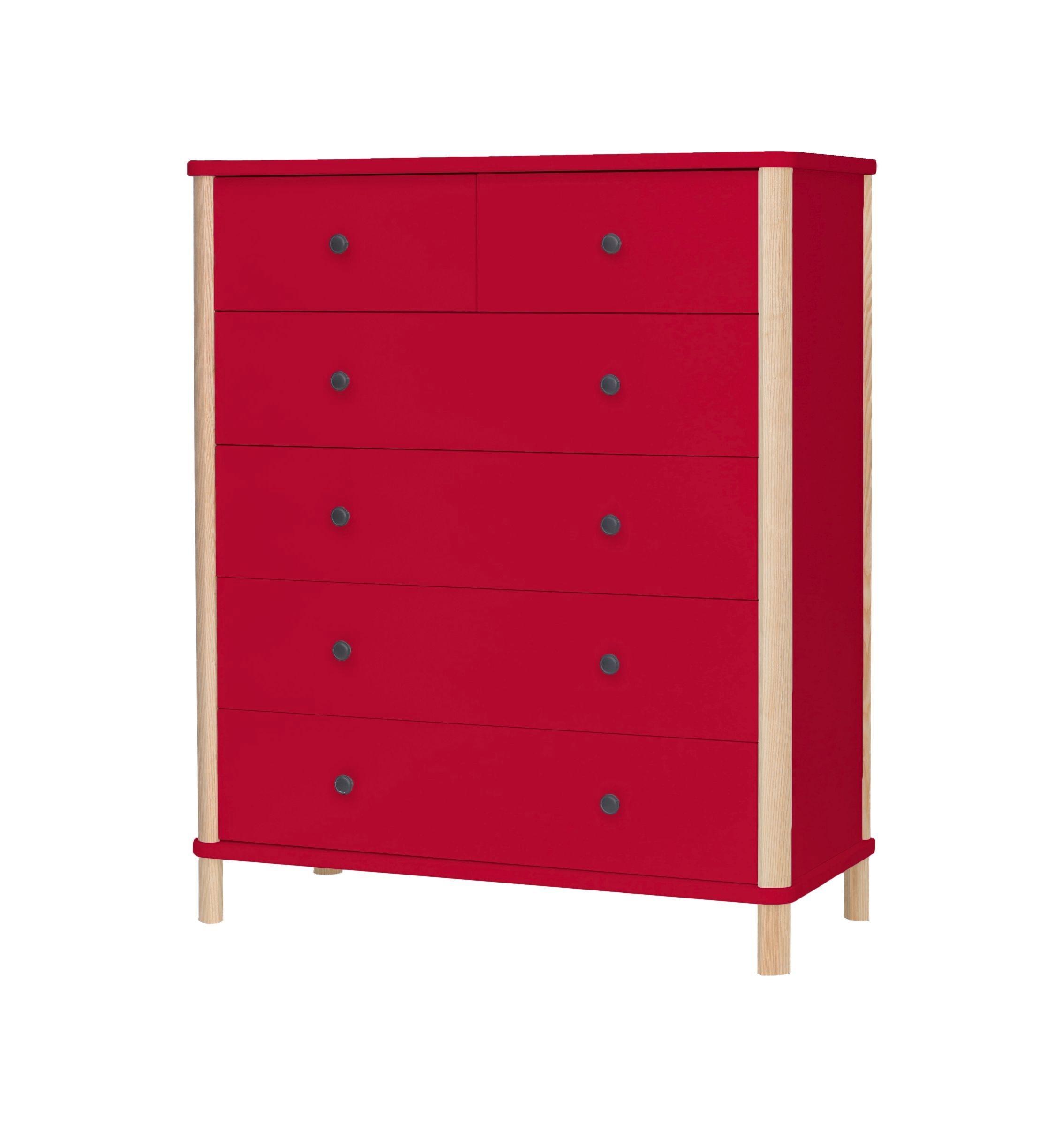 Cabinet din MDF si lemn de frasin cu 6 sertare Ashme Big Boy Red l95xA45xH114 cm
