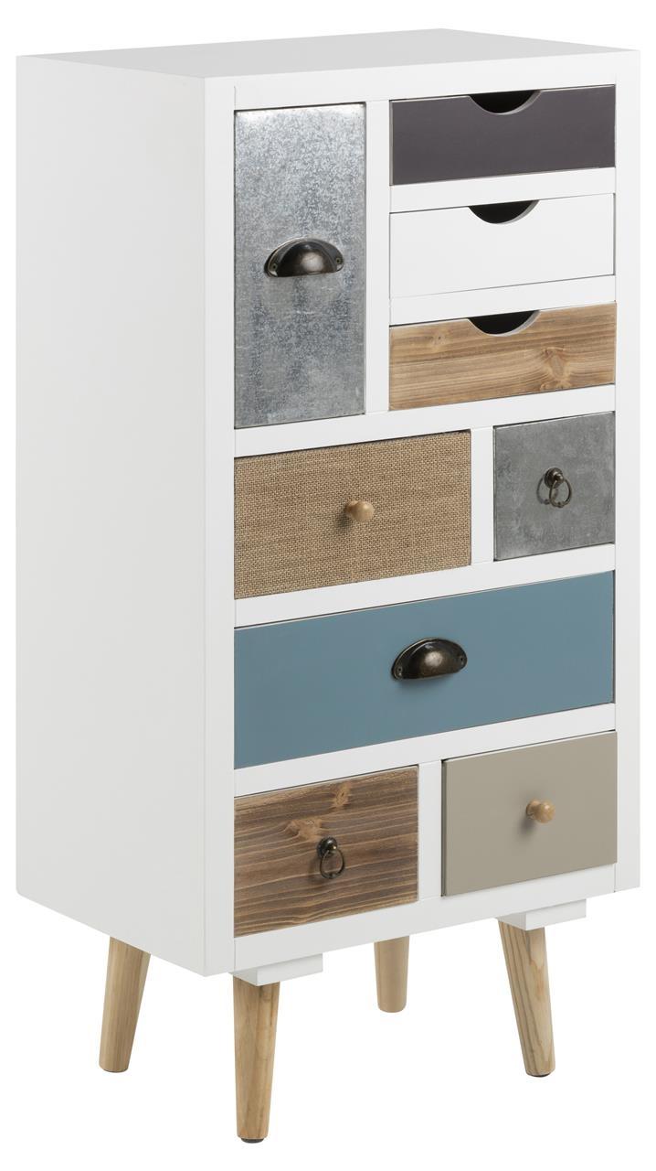 Cabinet din MDF si lemn, cu 9 sertare Thais Multicolor, l48xA32xH98 cm
