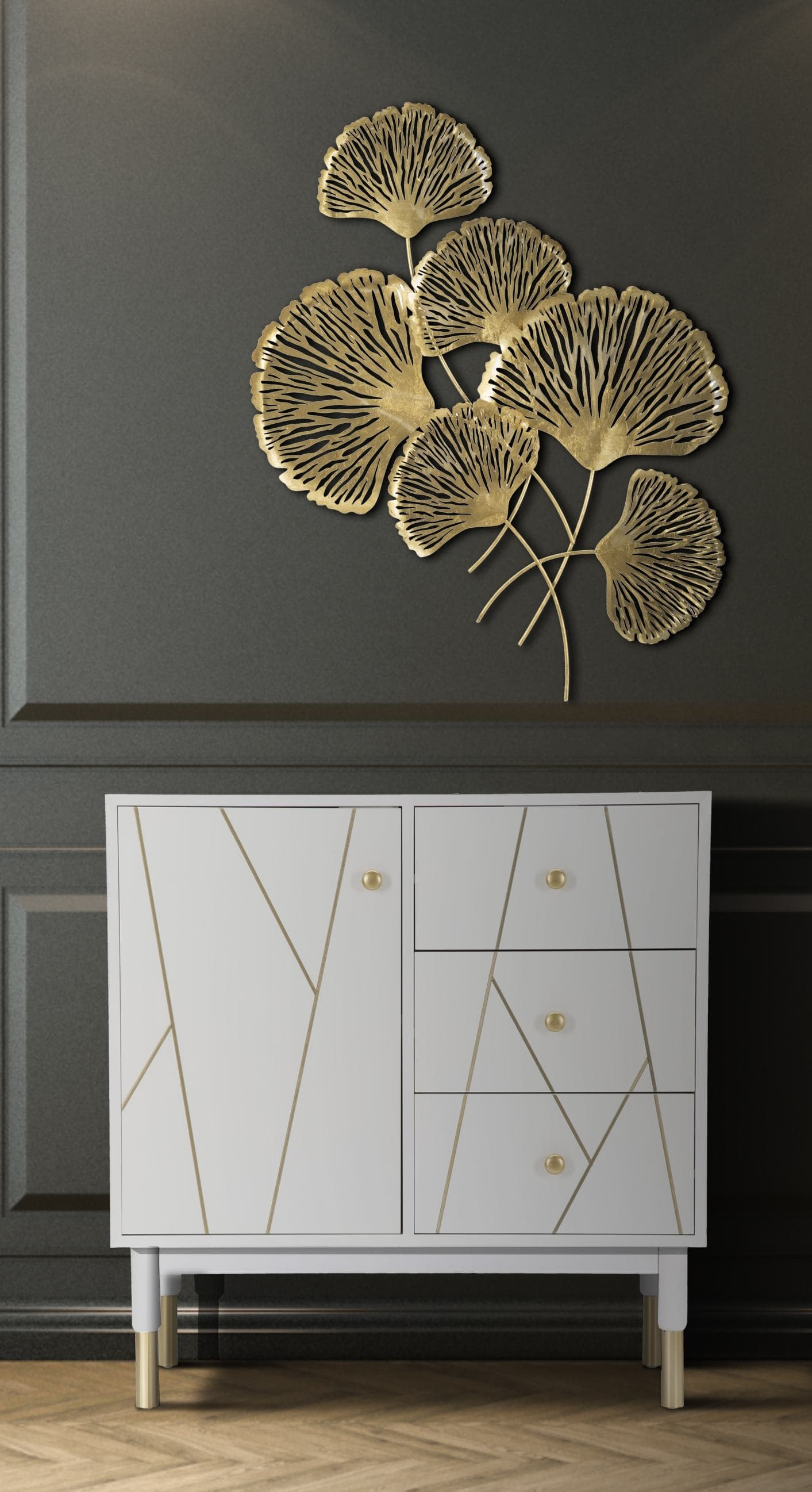 Cabinet din MDF si metal, cu 3 sertare si 1 usa Luxy Alb / Auriu, l80xA40xH82,5 cm poza