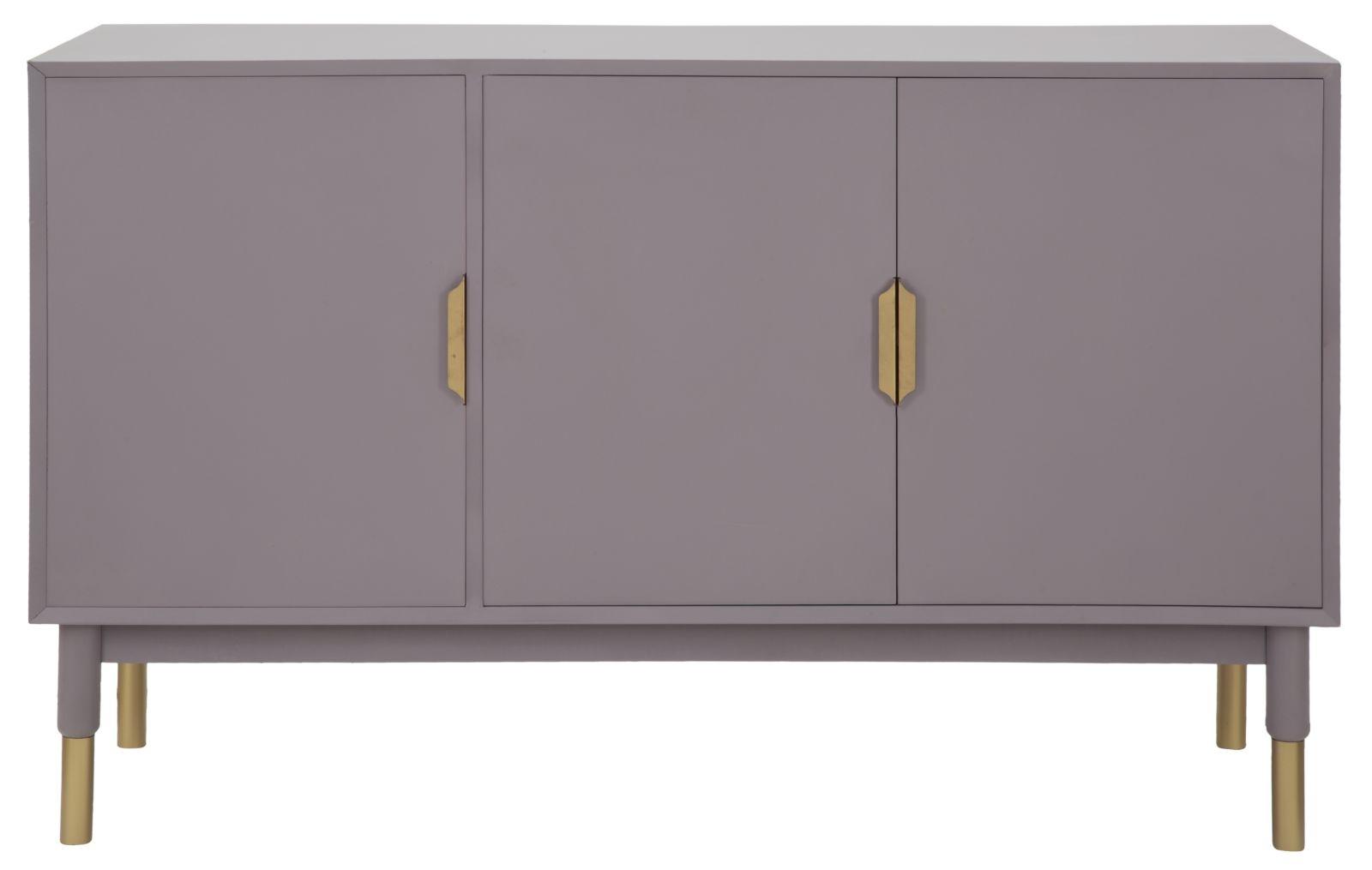 Cabinet din MDF si metal cu 3 usi Lille Purple l120xA45xH75 cm