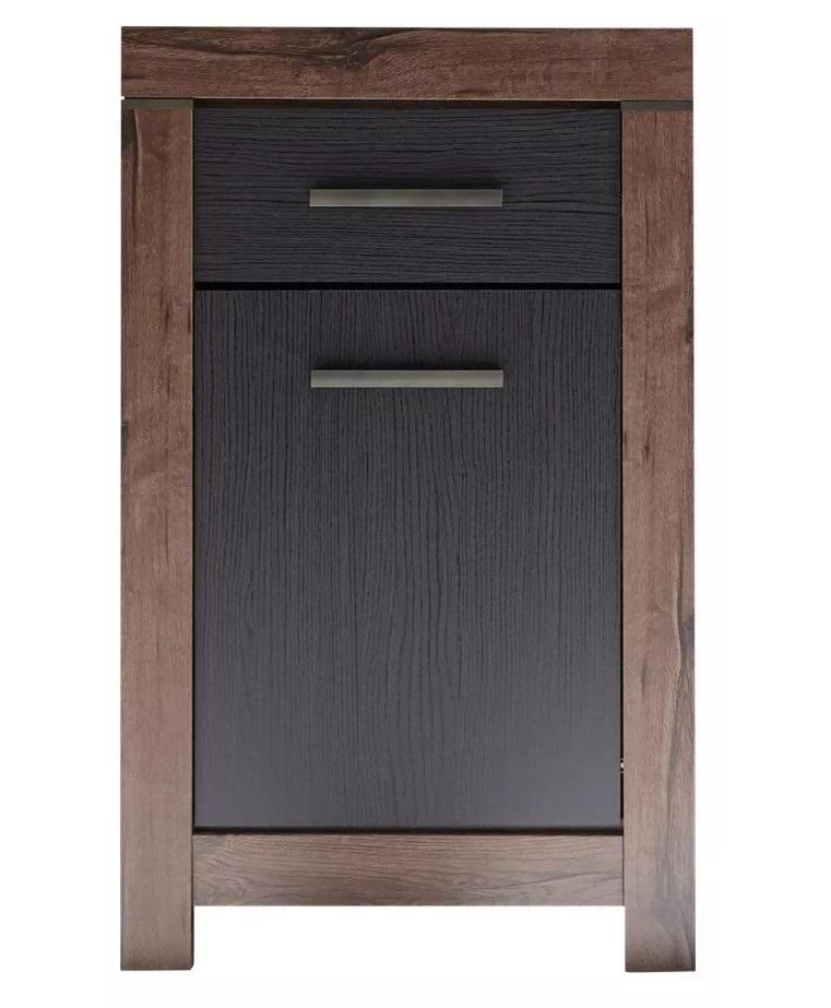 Cabinet din pal, cu 1 sertar si 1 usa Blake Stejar Negru / Stejar, l64xA45xH105 cm imagine