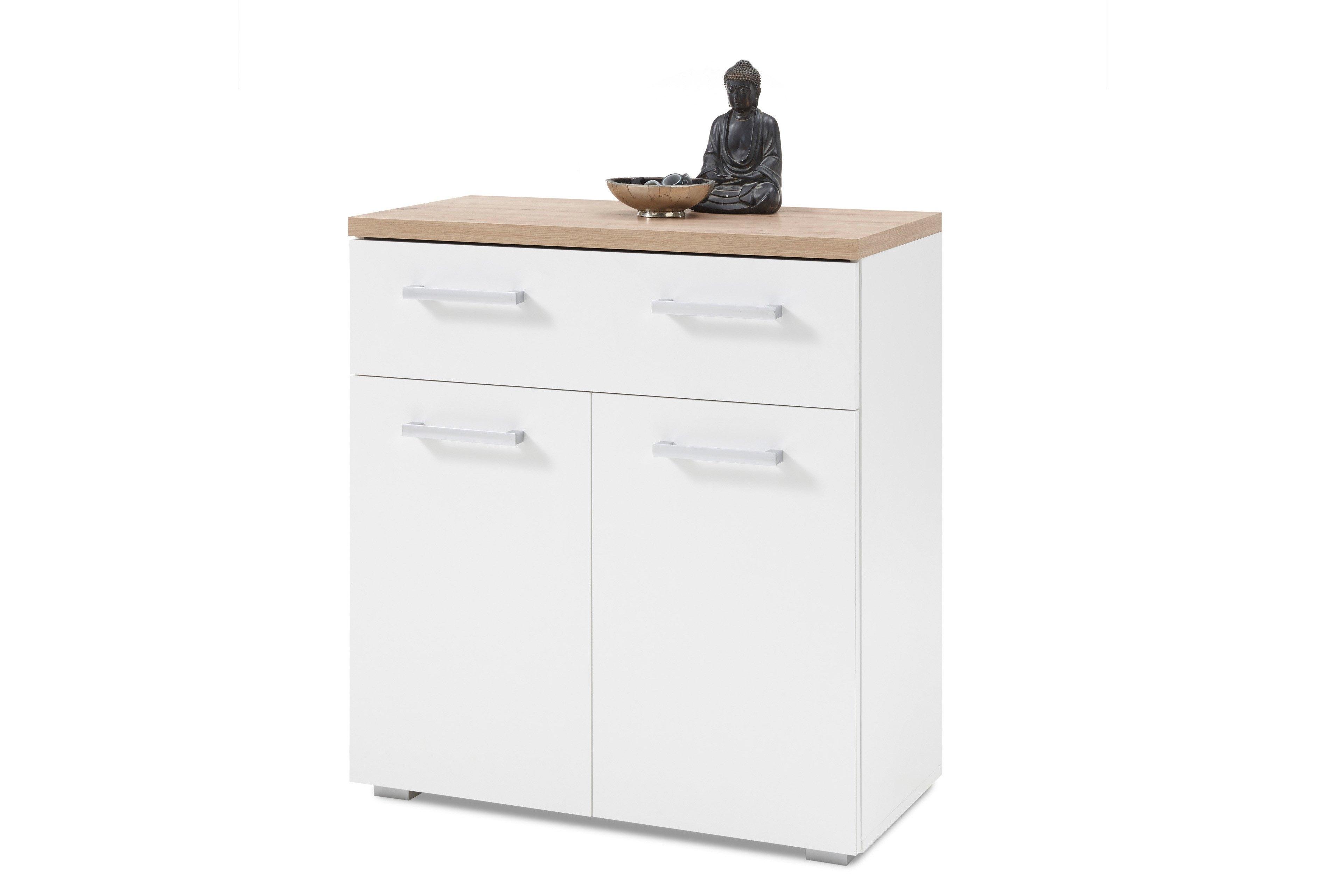 Cabinet din pal cu 1 sertar si 2 usi Gota Alb / Natural, l78xA38xH85 cm