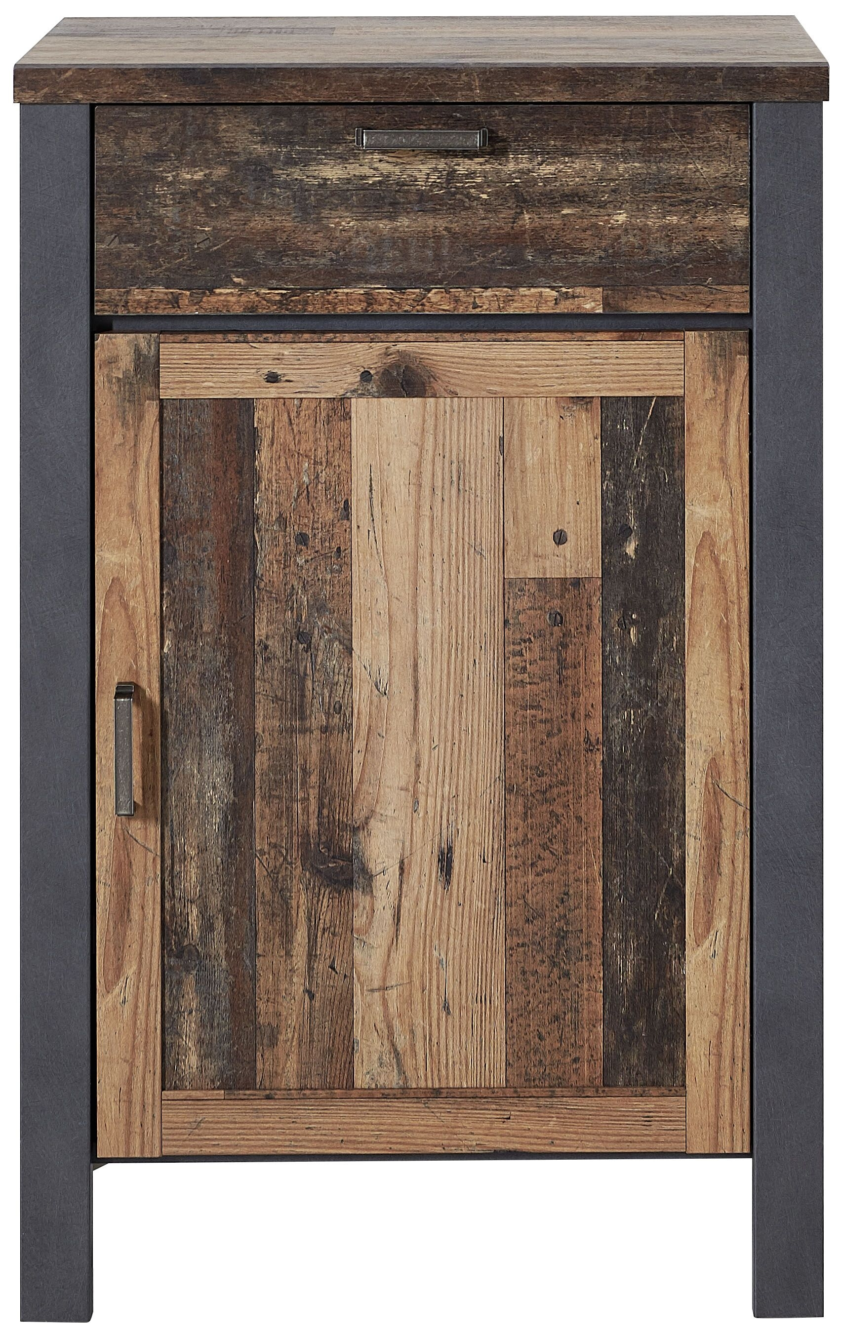 Cabinet din pal cu 1 usa si 1 sertar Chelsea Natural / Grafit, l69xA40xH105 cm imagine