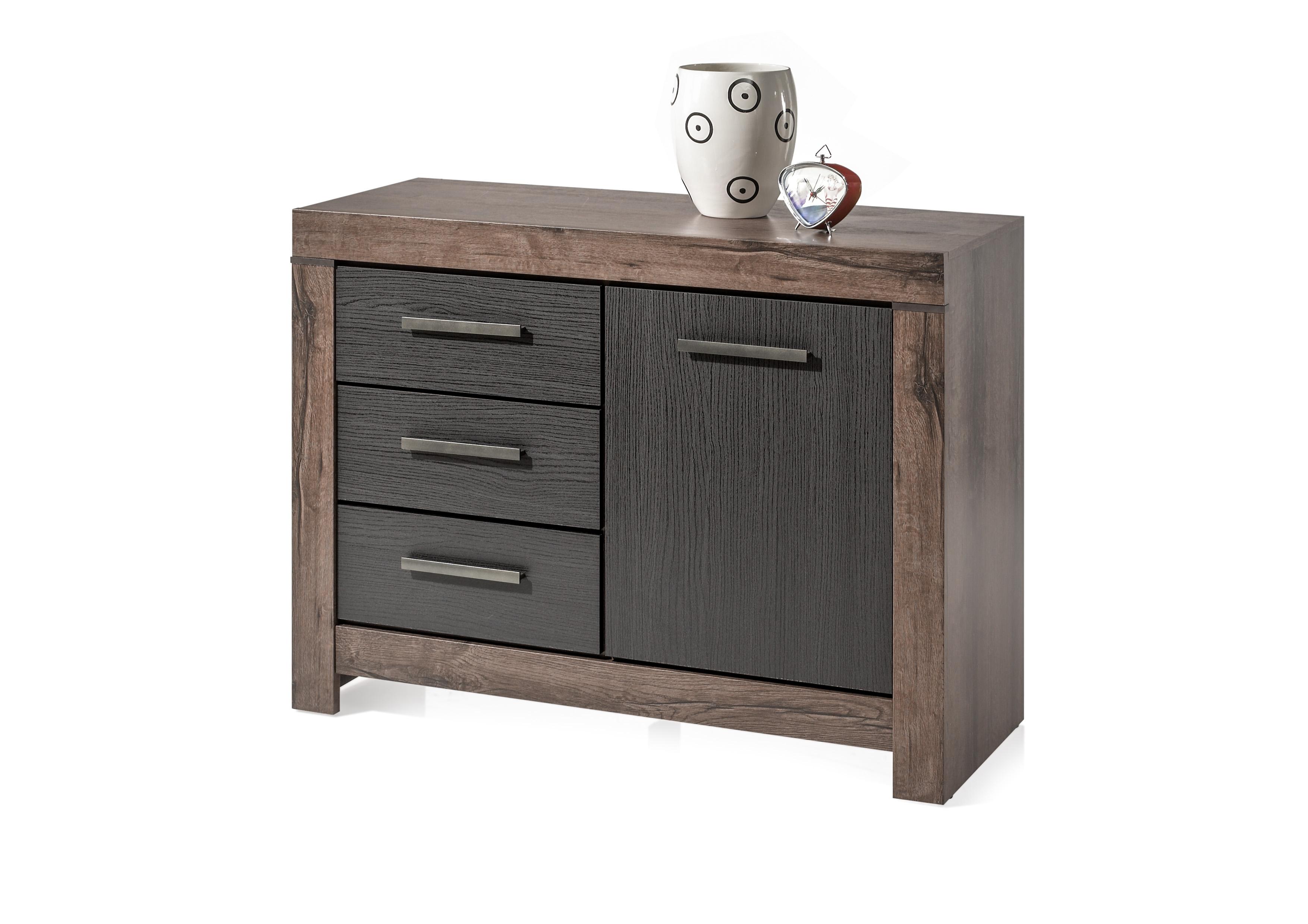 Cabinet din pal, cu 1 usa si 3 sertare Blake Stejar Negru / Stejar, l112xA45xH85 cm