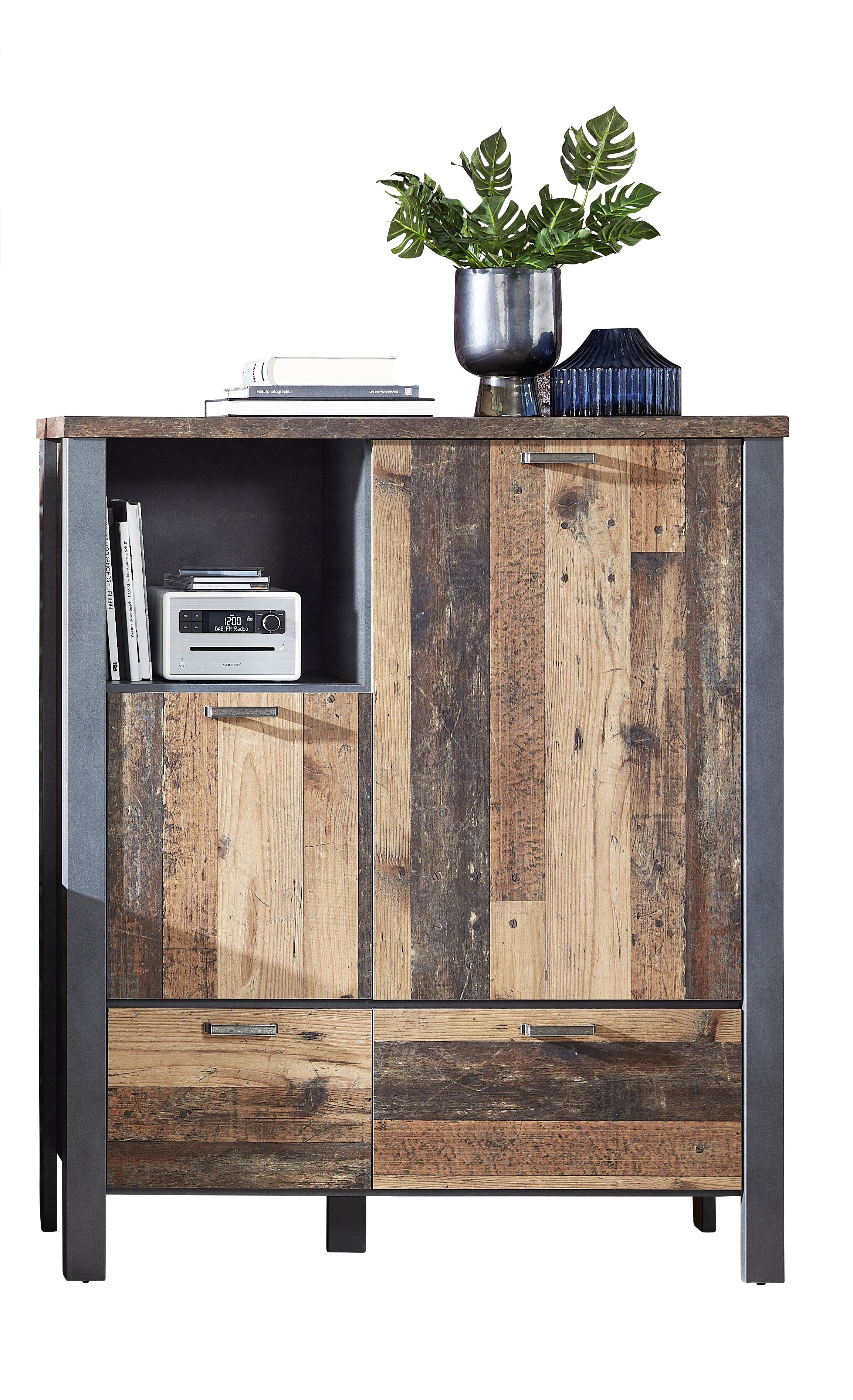 Cabinet din pal, cu 2 sertare si 2 usi Chelsea Natural / Grafit, l109xA40xH129 cm somproduct.ro