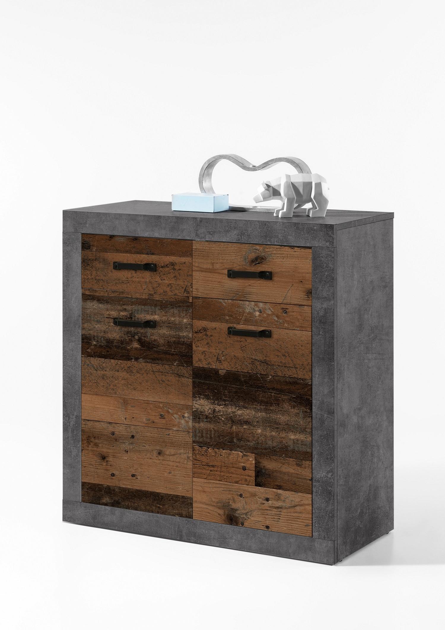 Cabinet din pal, cu 2 sertare si 2 usi Inez Gri / Natur, l82xA37xH90 cm