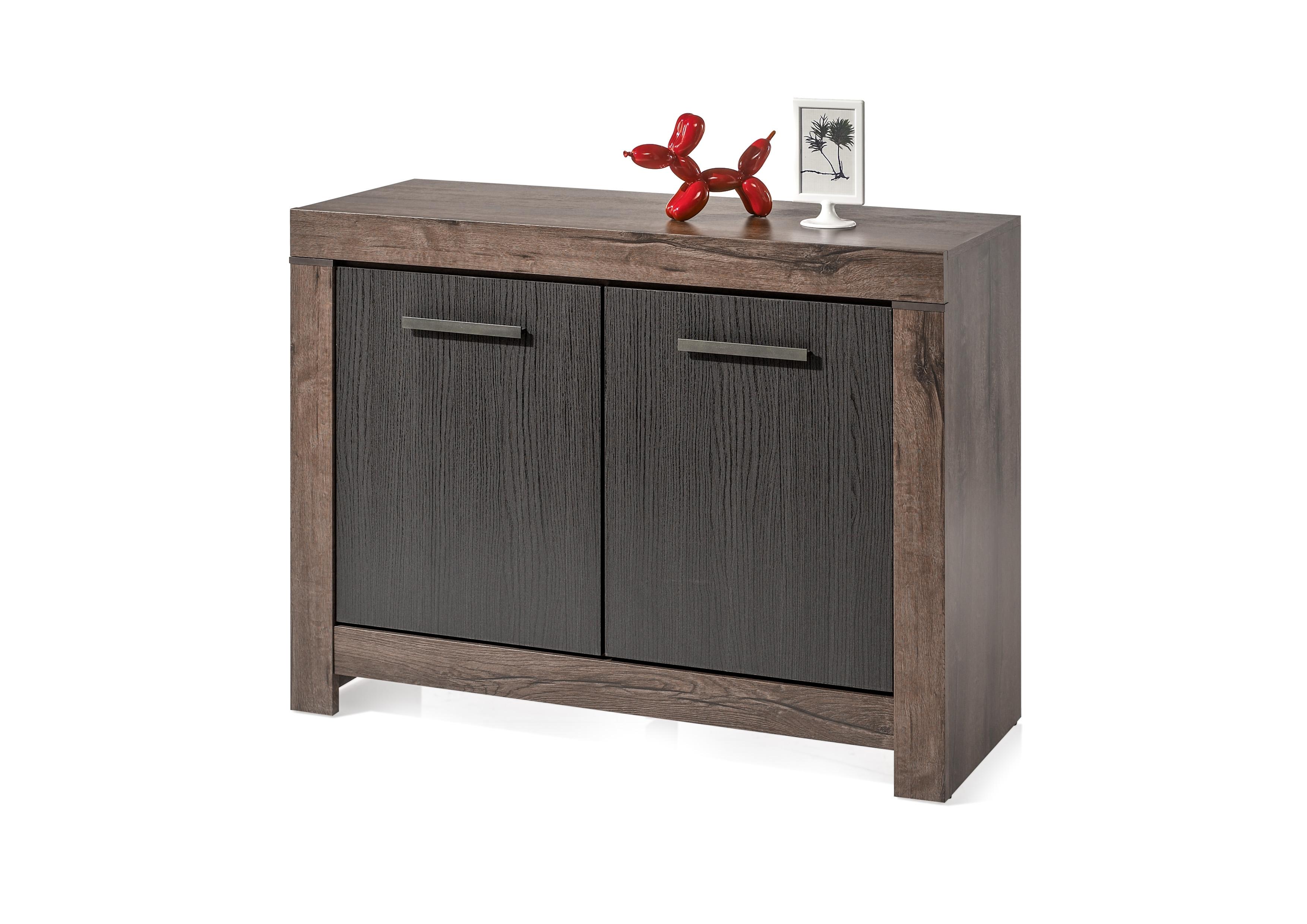 Cabinet din pal, cu 2 usi Blake Stejar Negru / Stejar, l112xA45xH85 cm
