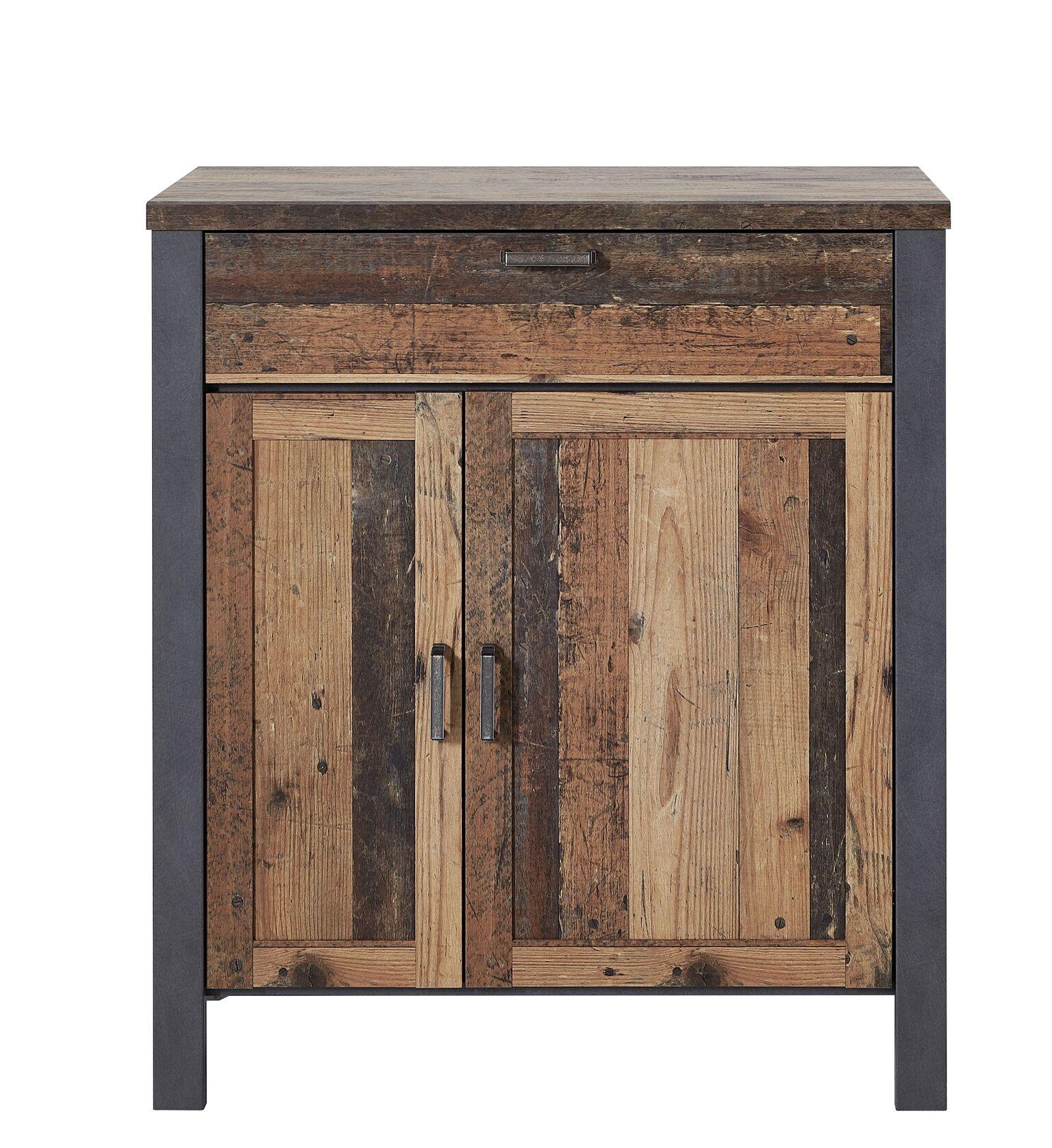 Cabinet din pal cu 2 usi si 1 sertar Chelsea Natural / Grafit, l94xA40xH105 cm imagine