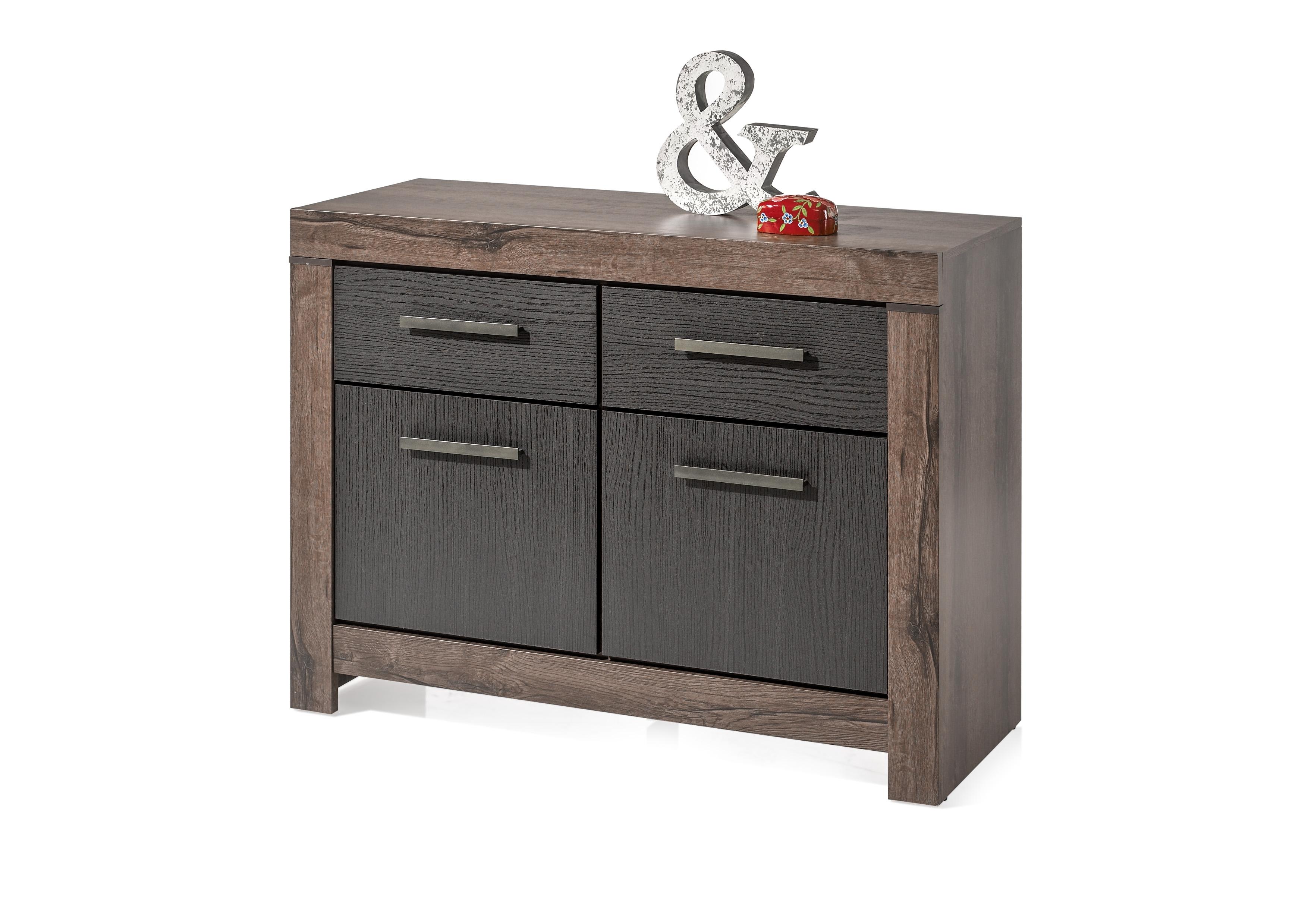 Cabinet din pal, cu 2 usi si 2 sertare Blake Stejar Negru / Stejar, l112xA45xH85 cm
