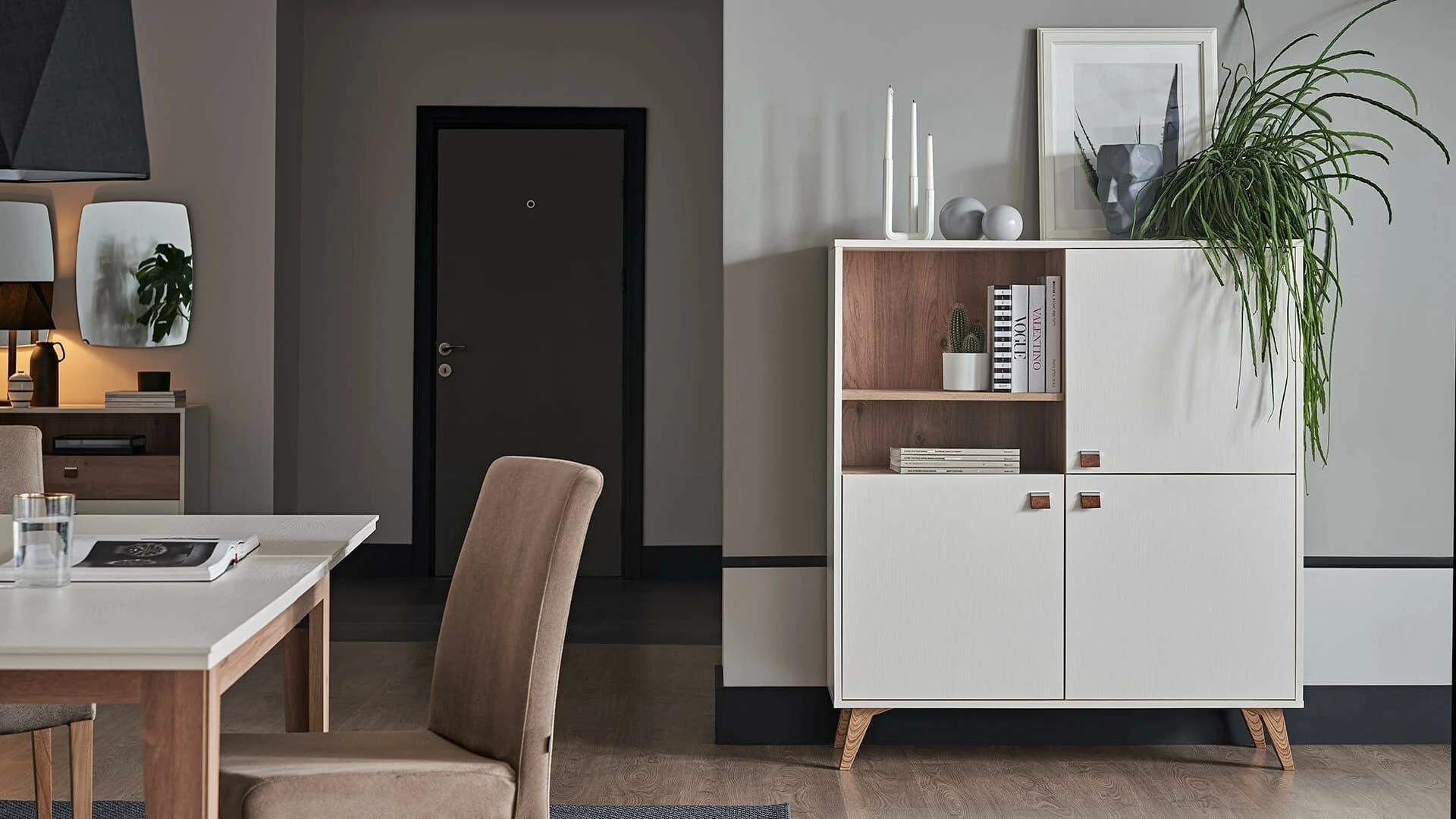 Cabinet din pal, cu 3 usi Mayer Alb / Stejar, l116,4xA44,5xH132,3 cm somproduct.ro