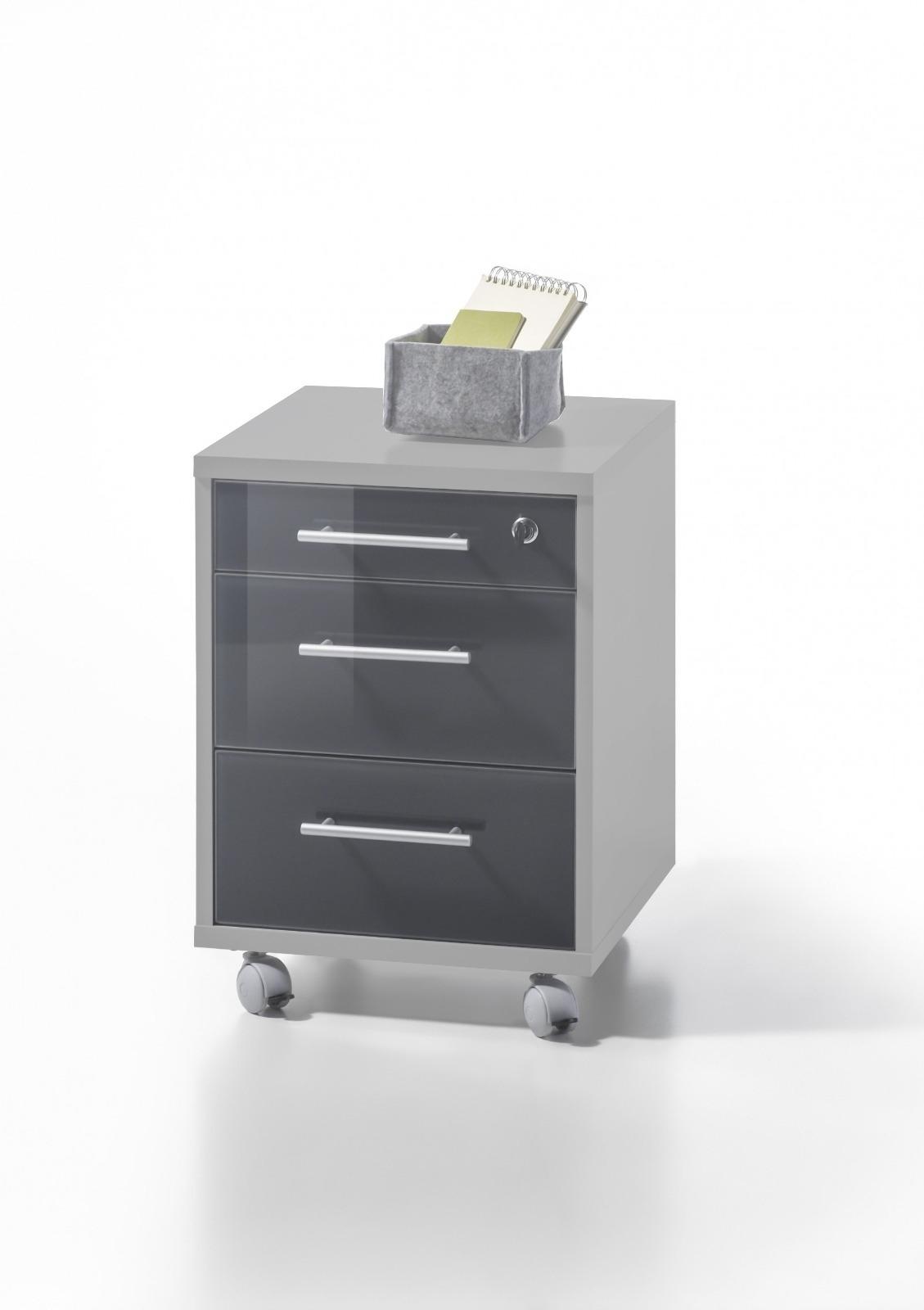 Cabinet din pal pe rotile, cu 3 sertare Luxury Gri / Grafit, l40xA40xH56 cm imagine