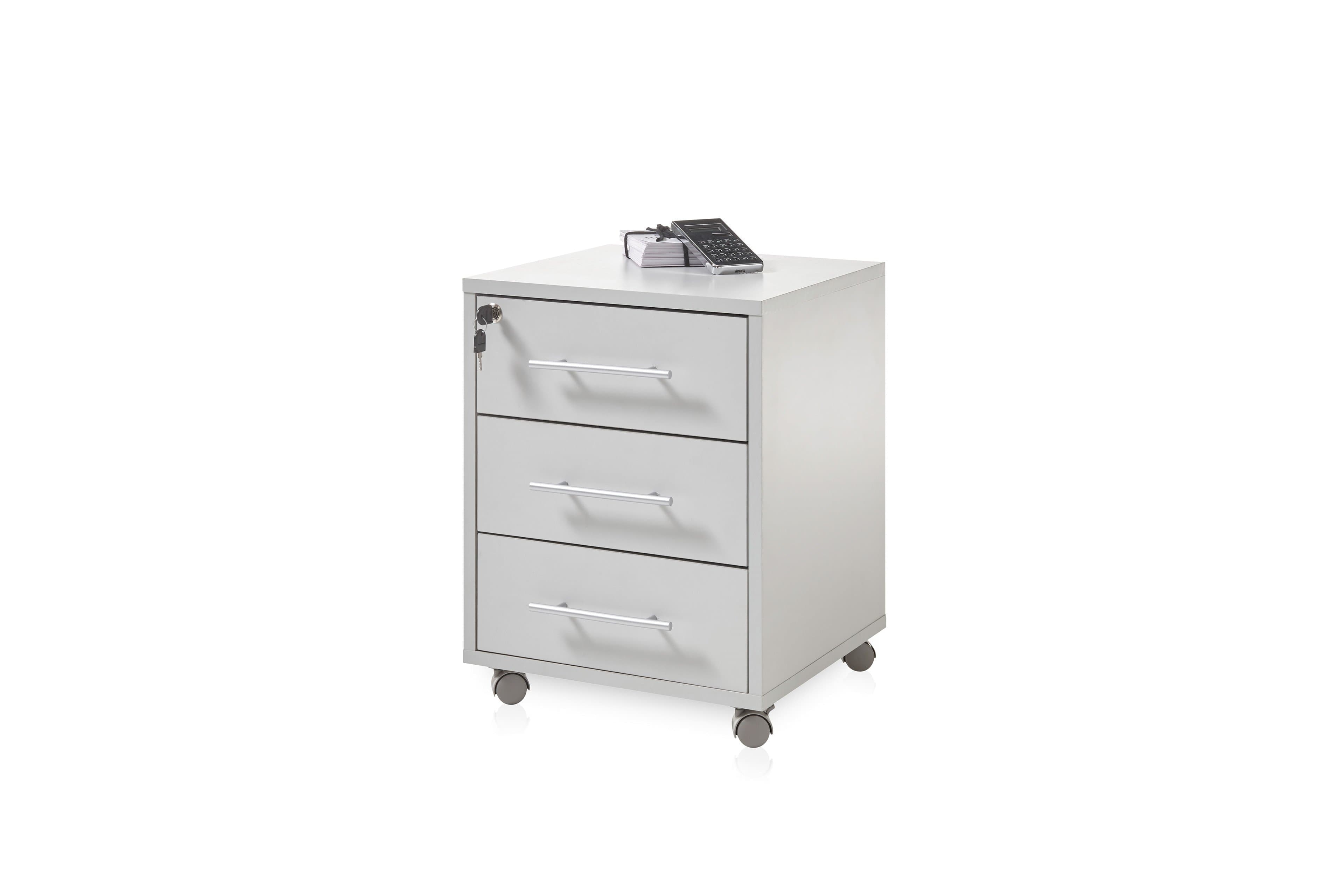 Cabinet din pal pe rotile, cu 3 sertare Prato Gri deschis, l43xA46xH56 cm poza