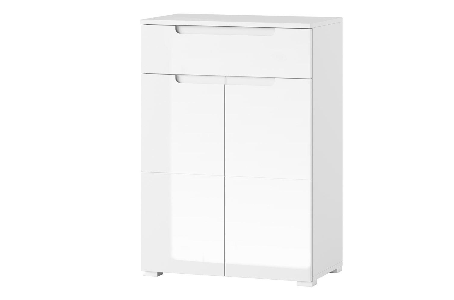 Cabinet din pal si MDF cu 1 sertar si 2 usi Gabrielle 19 Alb, l70xA40xH101 cm