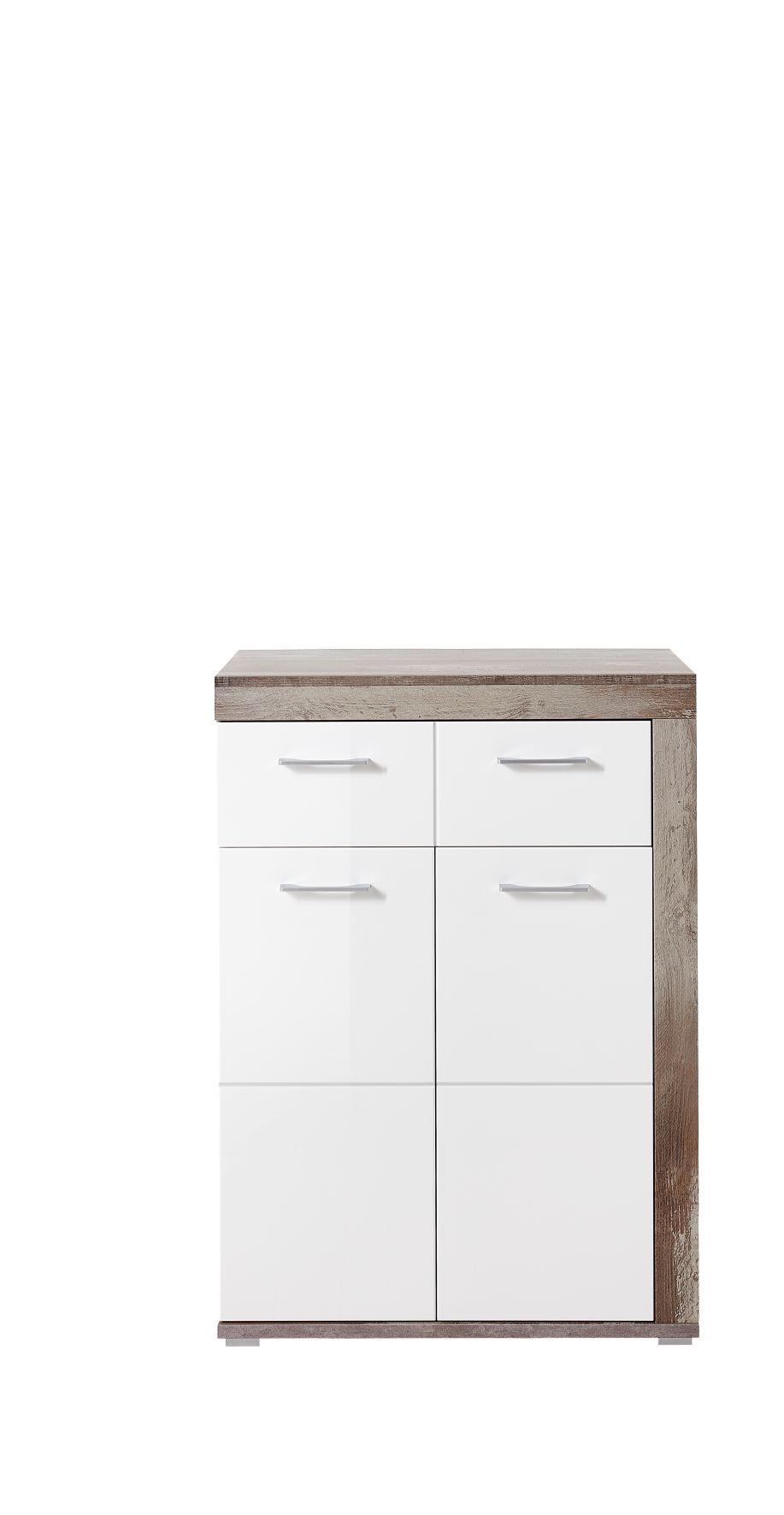 Cabinet din pal si MDF, cu 1 sertar si 2 usi Krone Alb / Natur, l77xA38xH107 cm imagine