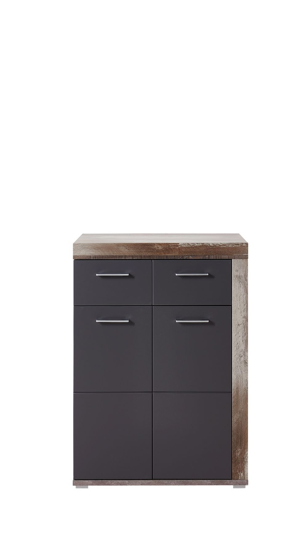 Cabinet din pal si MDF, cu 1 sertar si 2 usi Krone Grafit / Natur, l77xA38xH107 cm imagine