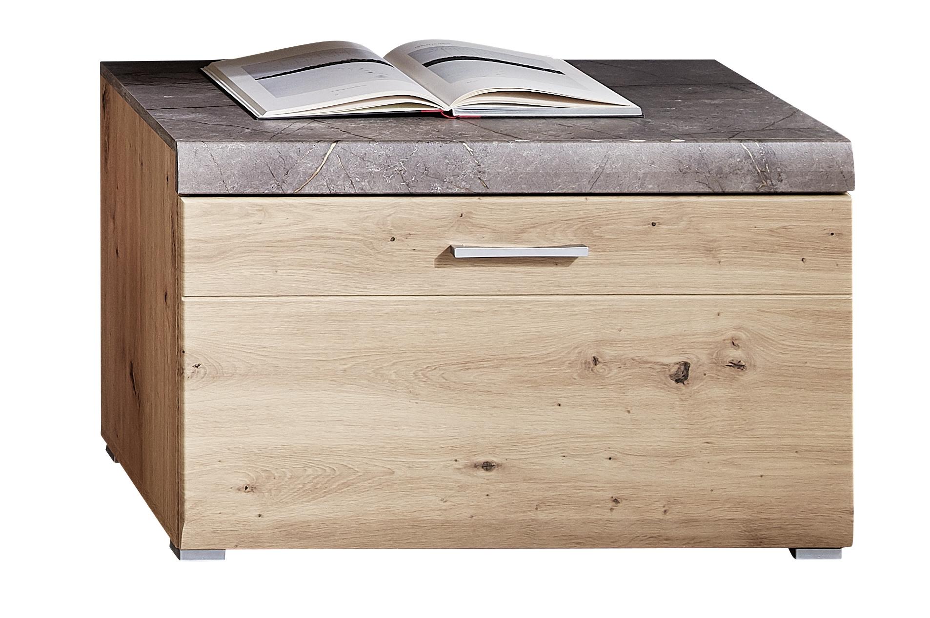Cabinet din pal si MDF, cu 1 sertar Skylar Stejar, l80xA47xH51 cm