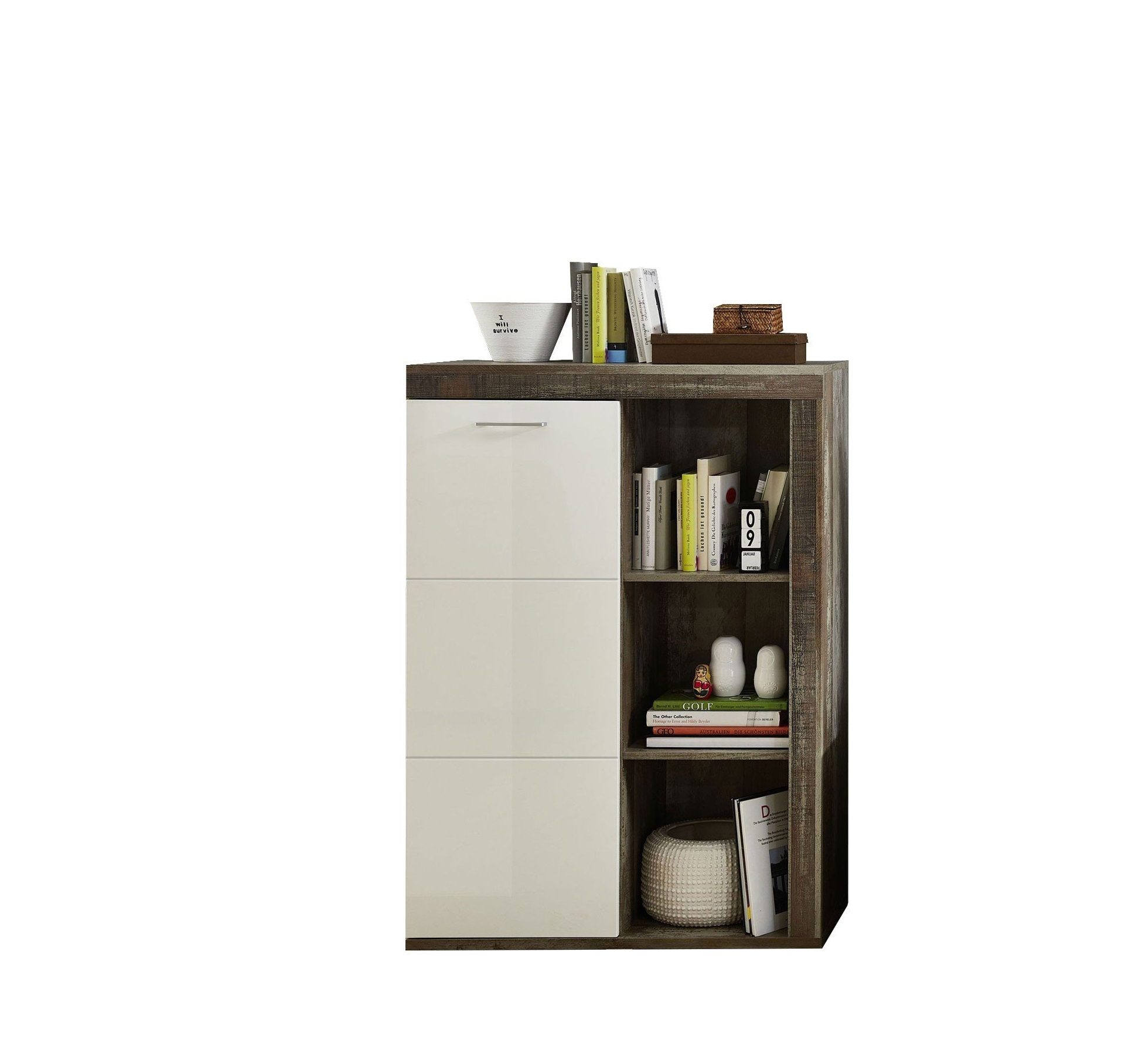 Cabinet din pal si MDF, cu 1 usa Krone Alb / Natur, l87xA38xH125 cm somproduct.ro