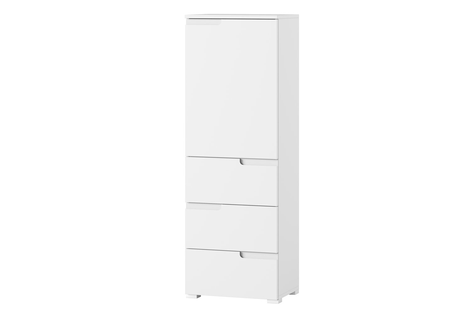 Cabinet din pal si MDF, cu 1 usa si 3 sertare Small Gabrielle 11 Alb, l50xA35xH145 cm somproduct.ro