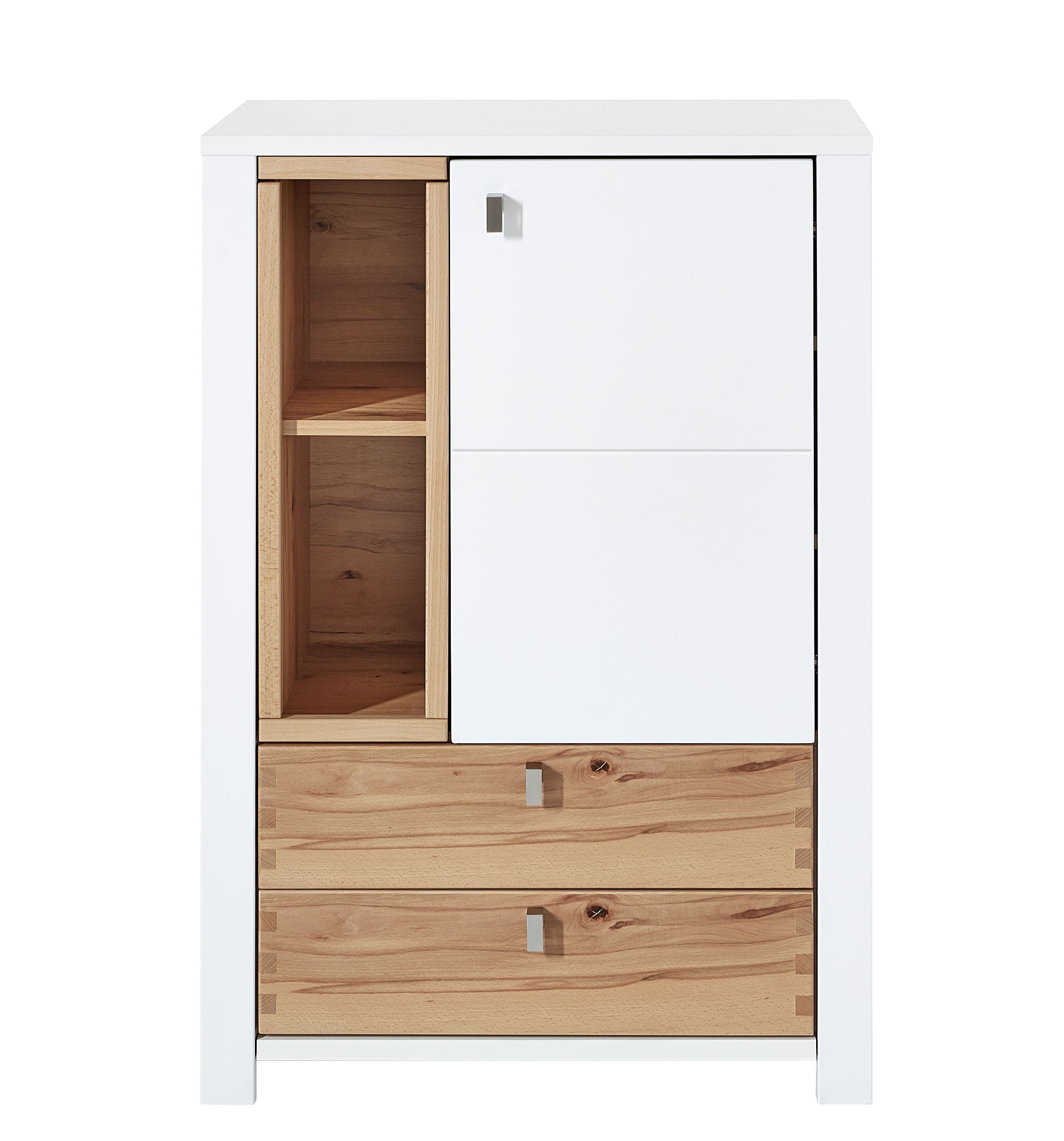 Cabinet din pal si MDF cu 2 sertare si 1 usa, Selina Alb / Natur, l73xA41xH106 cm imagine