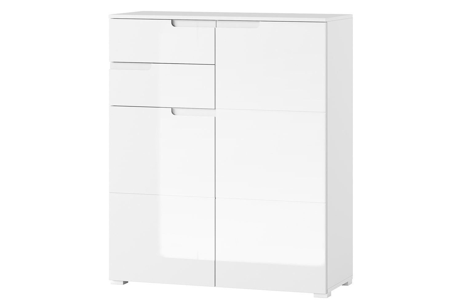 Cabinet din pal si MDF, cu 2 sertare si 2 usi Gabrielle 7 Alb, l100xA40xH119 cm imagine