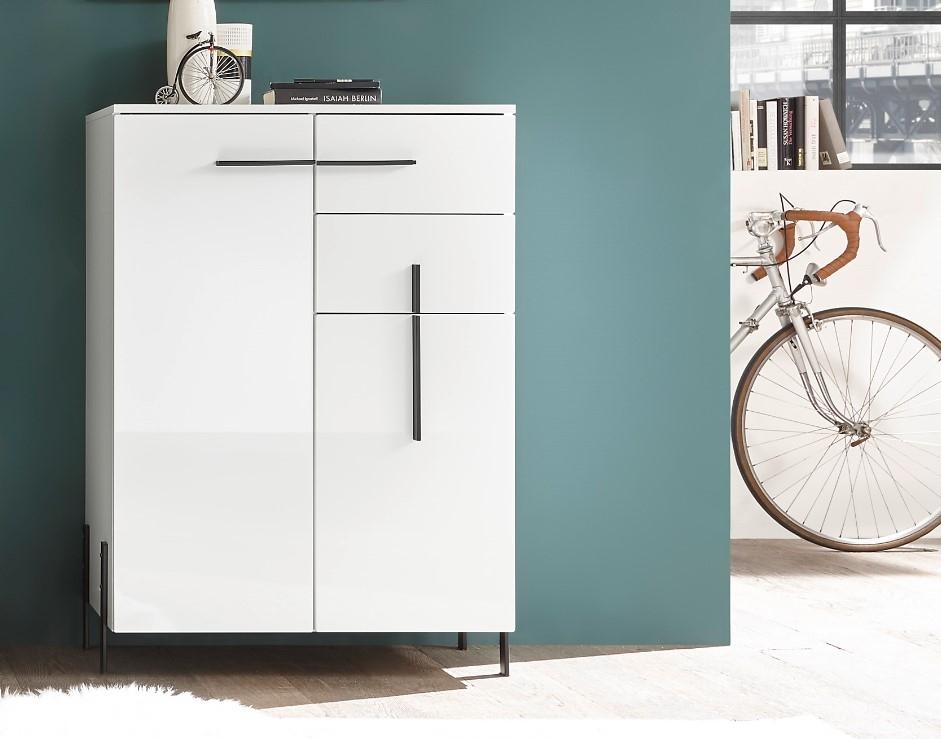 Cabinet din pal si MDF, cu 2 usi si 2 sertare Nysa Alb, l80xA40xH115 cm imagine