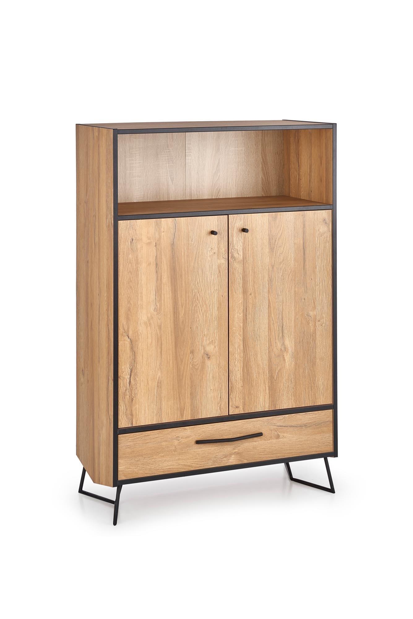 Cabinet din pal si metal, cu 1 sertar si 2 usi Lockheed KM-3 Stejar, l83xA40xH130 cm imagine