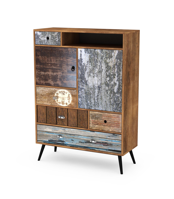 Cabinet din pal si metal, cu 5 sertare si 2 usi Mezo KM-4 Multicolor, l100xA29xH140 cm
