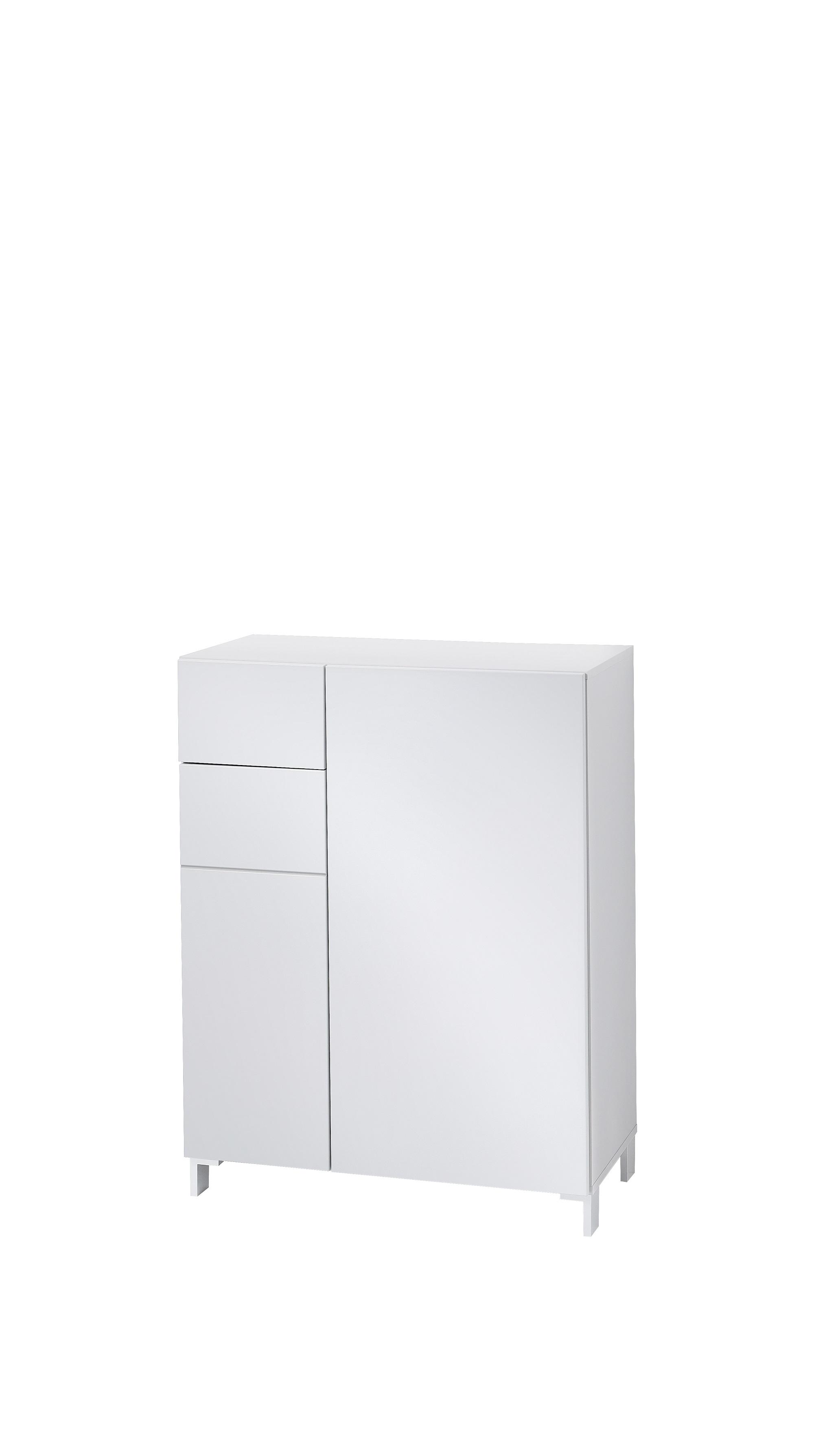 Cabinet hol din MDF cu 2 usi si 1 sertar, Kalis Gri, l80xA39xH104 cm imagine